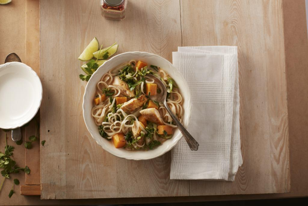 Ginger Curry Chicken & Squash Noodle Soup