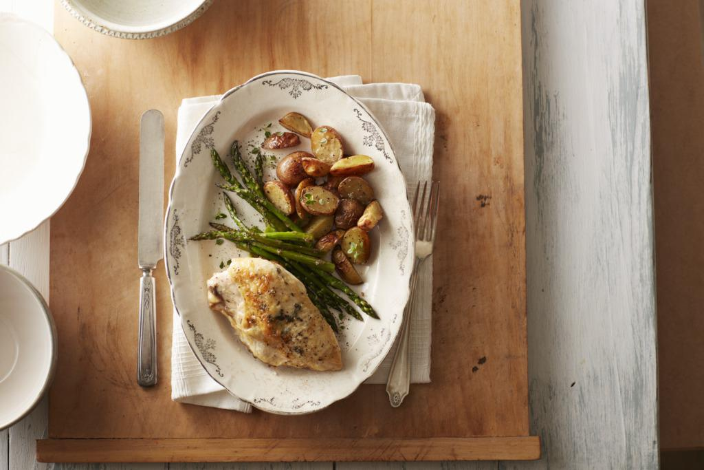 Sage-Scented Chicken with Roasted Asparagus & Fingerling Potatoes