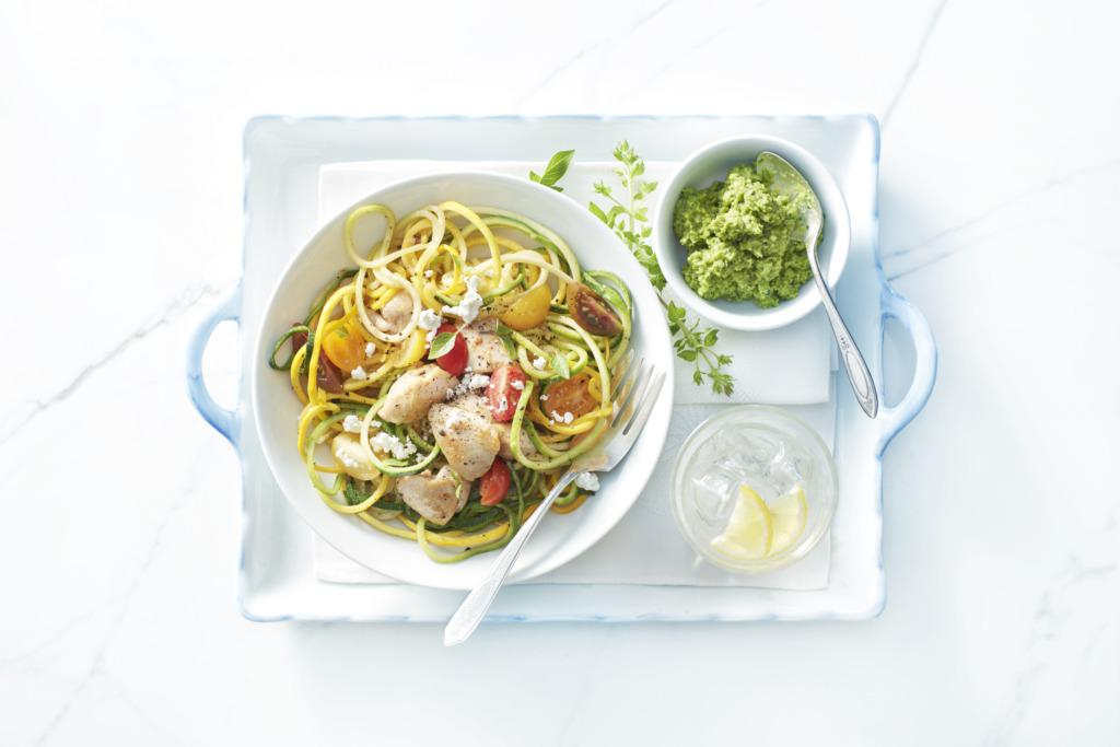 Chicken with Veggie Noodles & Basil Pea Pesto