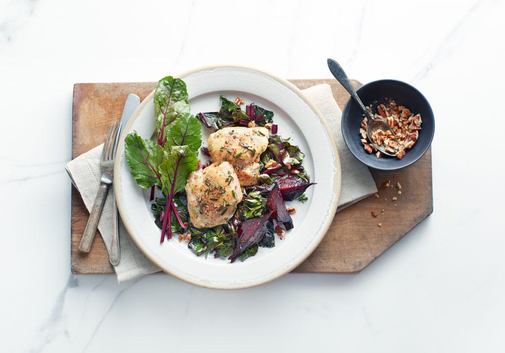 Roasted Rosemary Chicken Thighs with Honey Pecan Beets & Harvest Greens