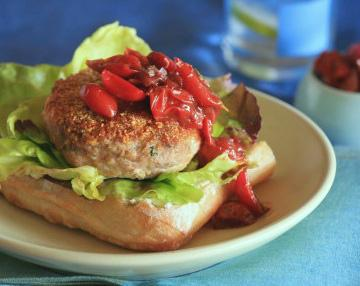Chicken Burger with Cherry Tomato & Rosemary Relish