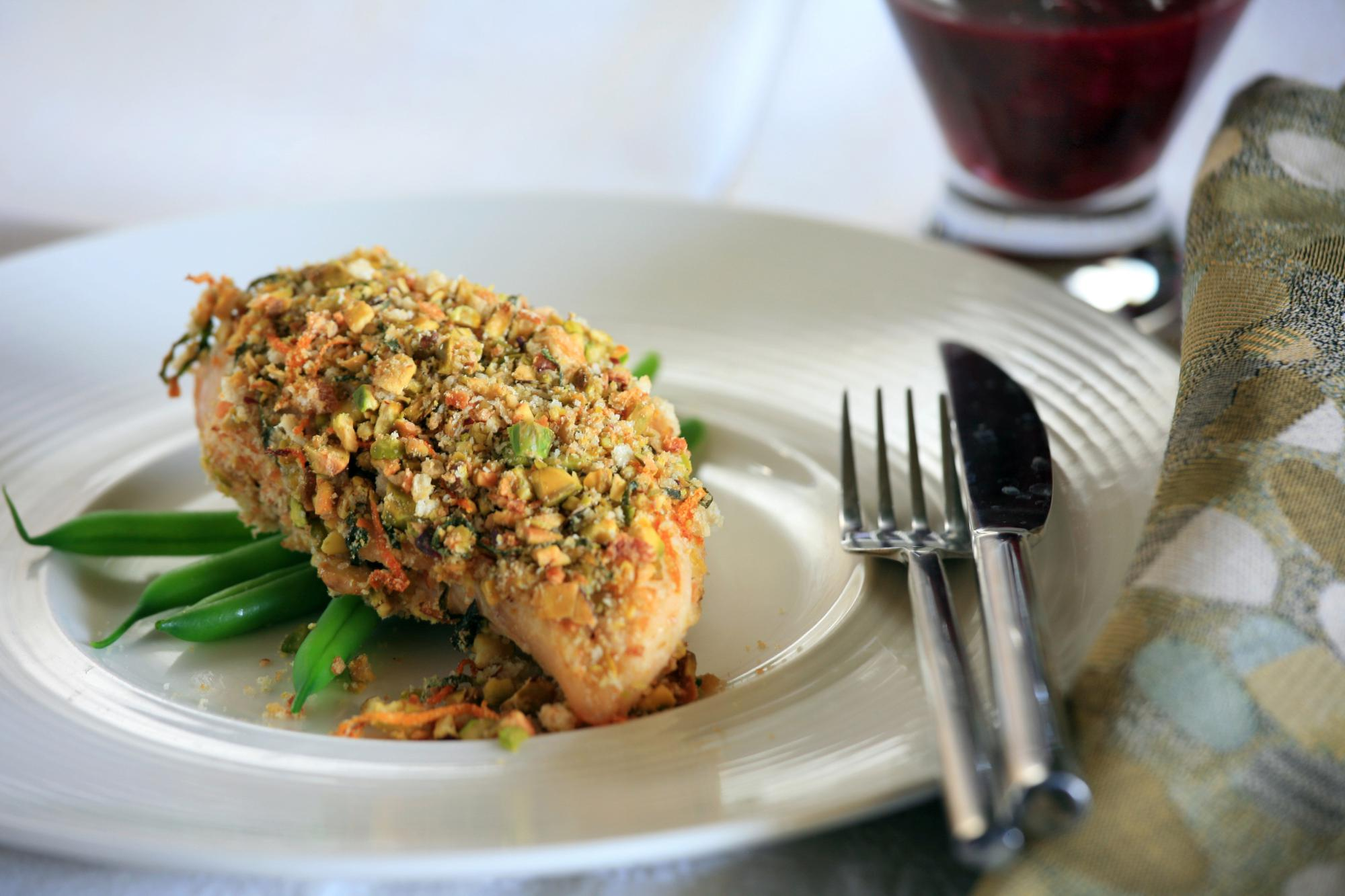 Pistachio Crusted Chicken with Plum Relish
