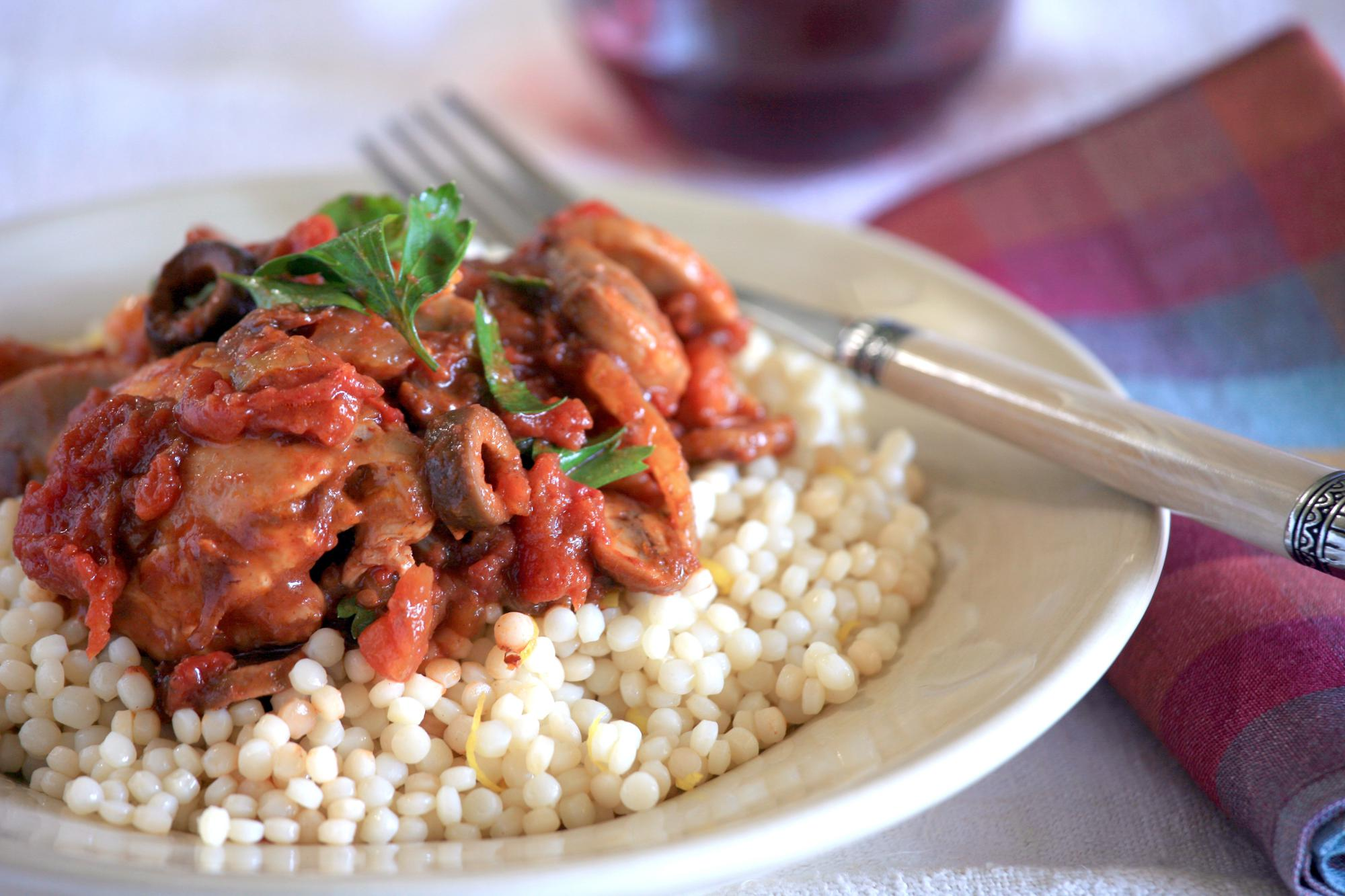 Tomato & Olive Braised Chicken with Couscous