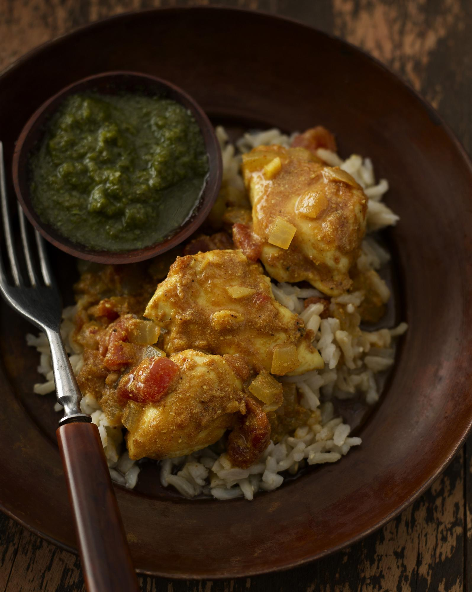 Spa Chicken Curry with Cilantro Chutney