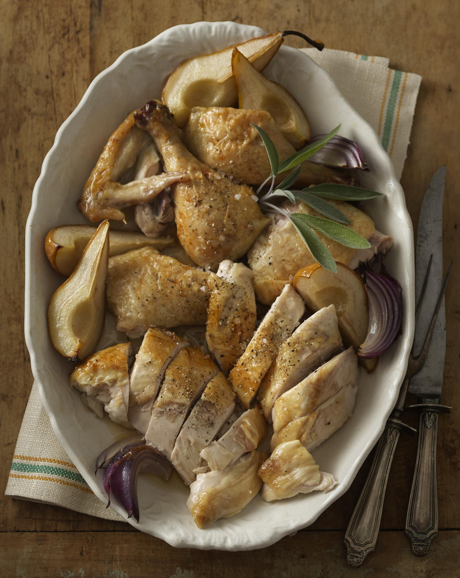 Maple-Ale Brined Chicken & Roasted Pears