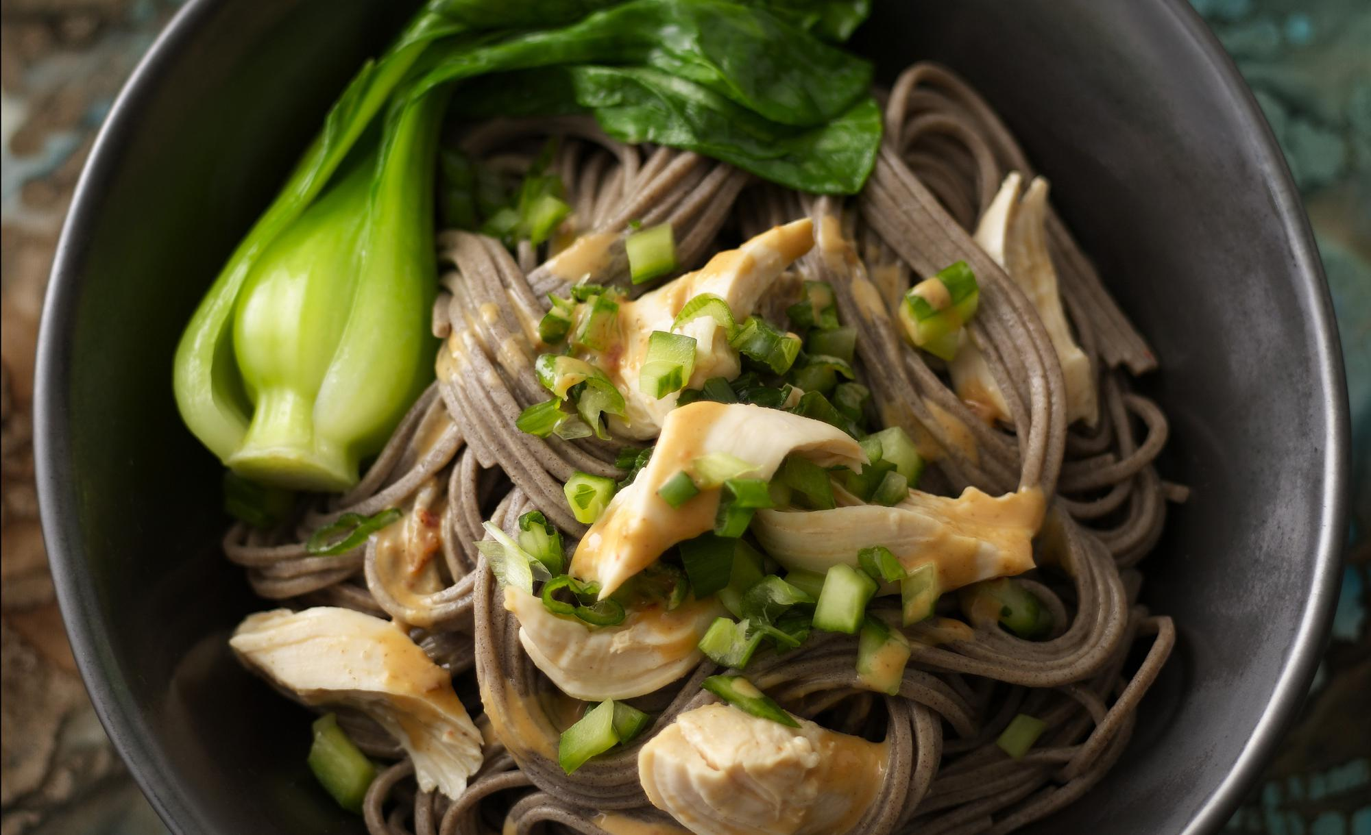 Peanut Chicken & Soba Noodle Bowls with Bok Choy