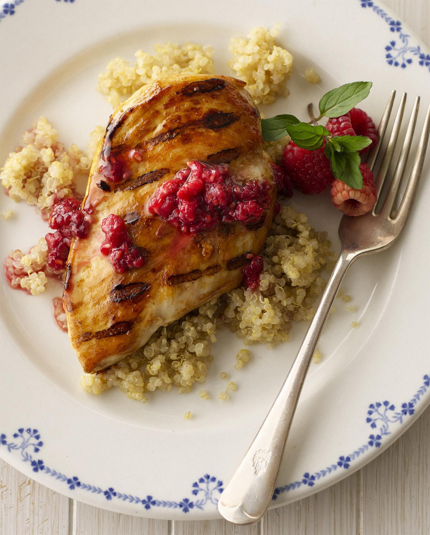 Grilled Chicken with Crushed Raspberry Vinaigrette