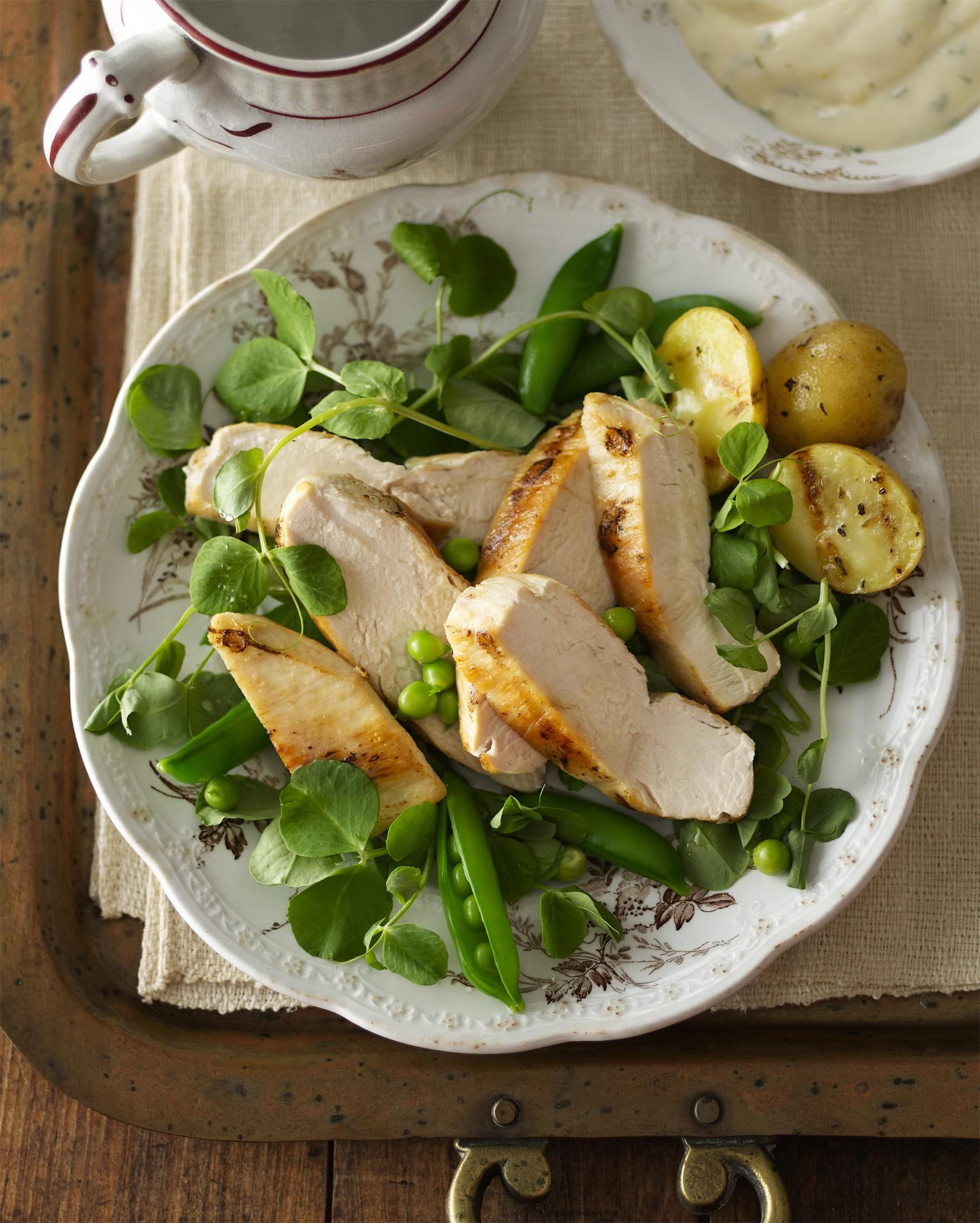 Chicken & Pea Shoot Salad with Tarragon Aioli