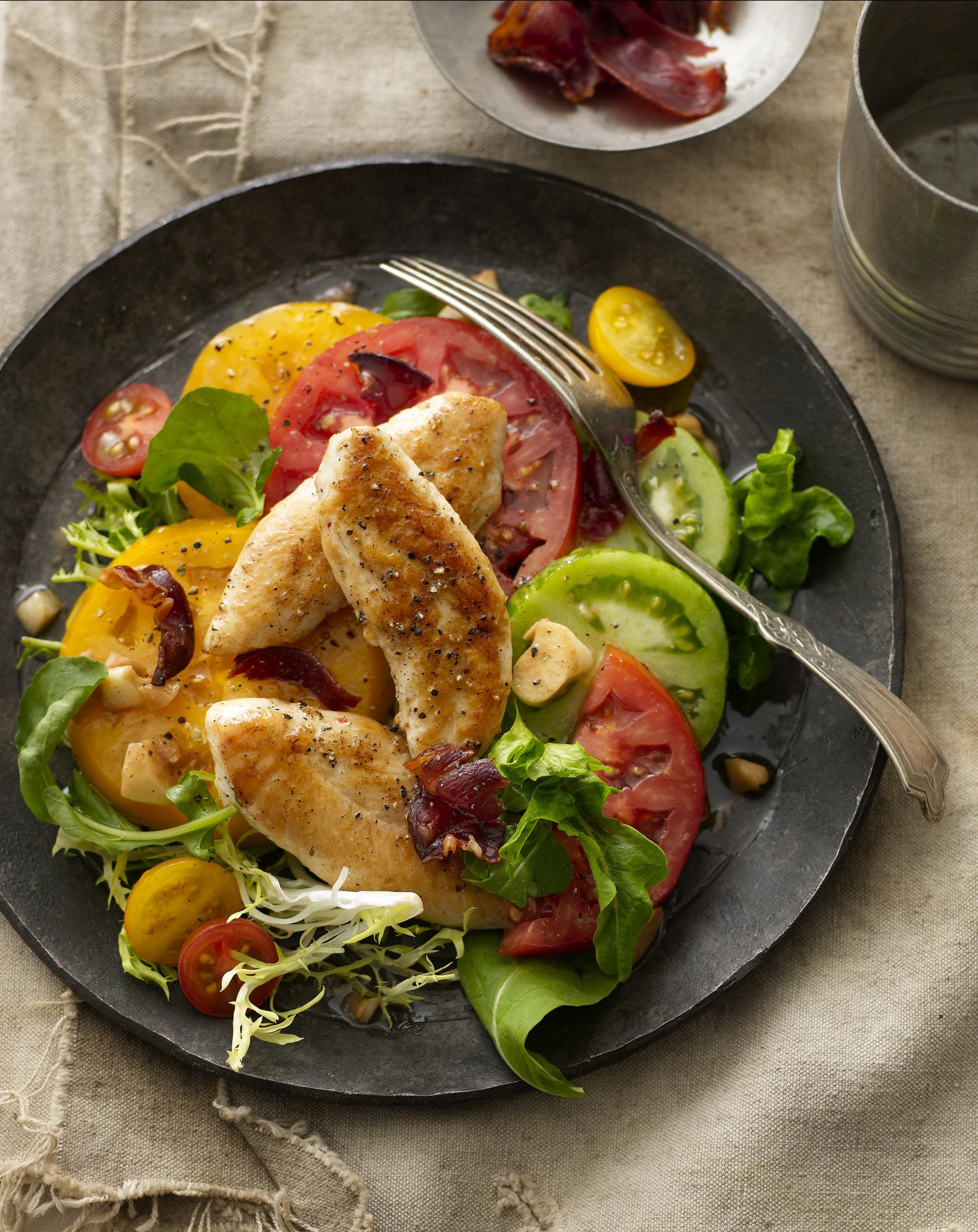 Chicken BLT Salad with Warm Garlic Vinaigrette