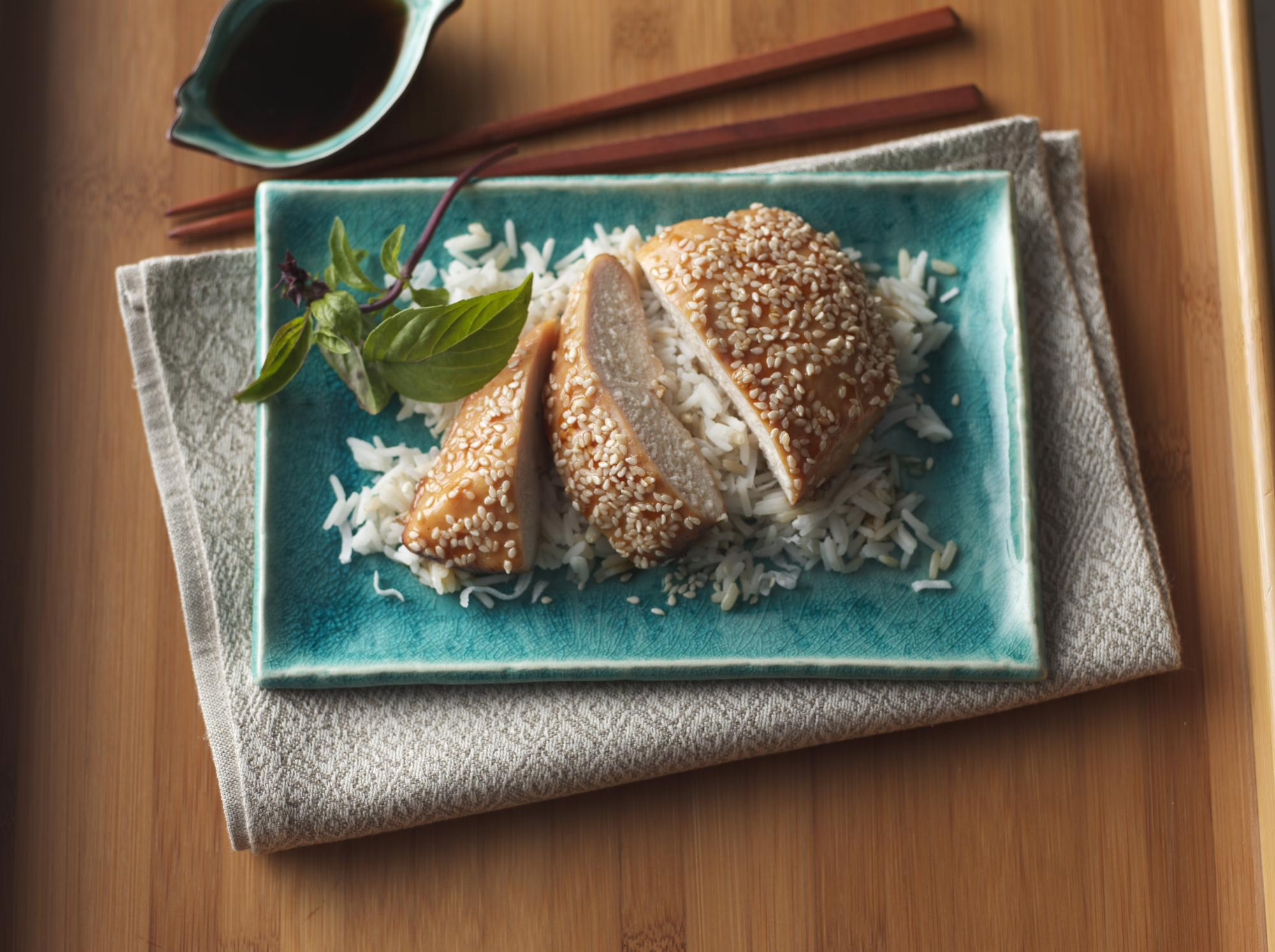 Sesame Roasted Chicken with Coconut Rice