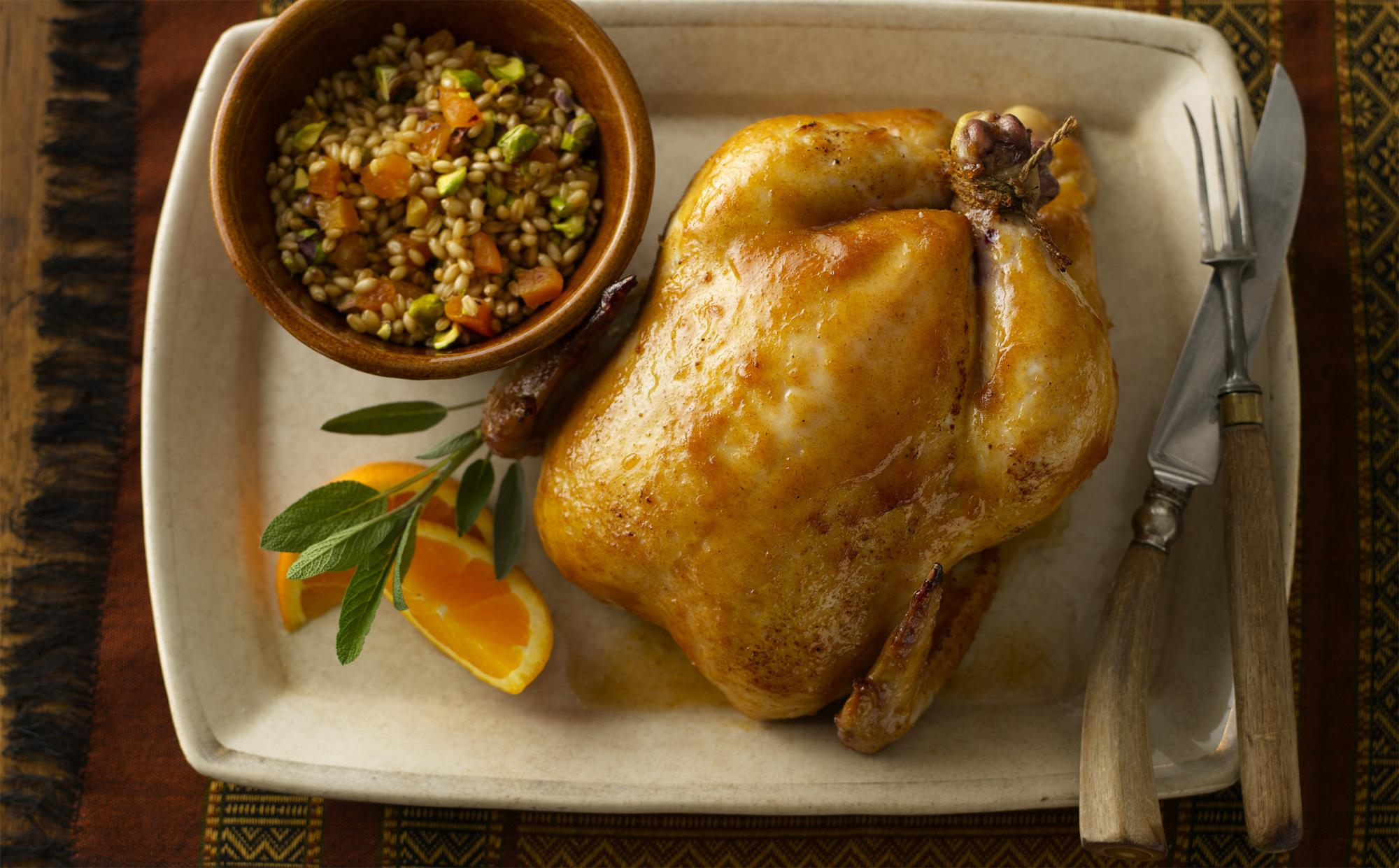 Apricot Spiced Roast Chicken with Pistachio Wheat Berry Dressing