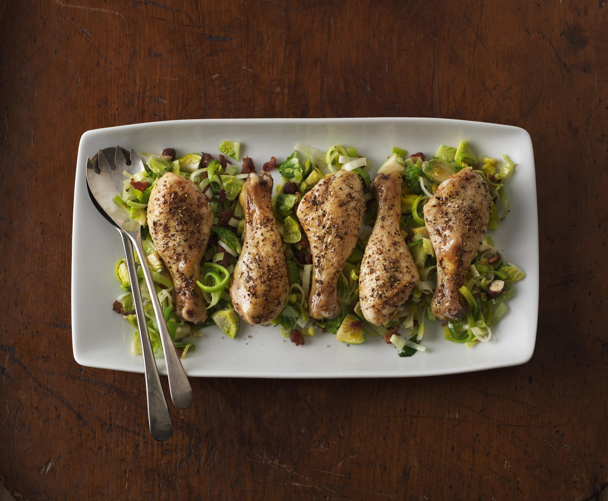 Peppercorn Drumsticks with Brussels Sprouts Hash