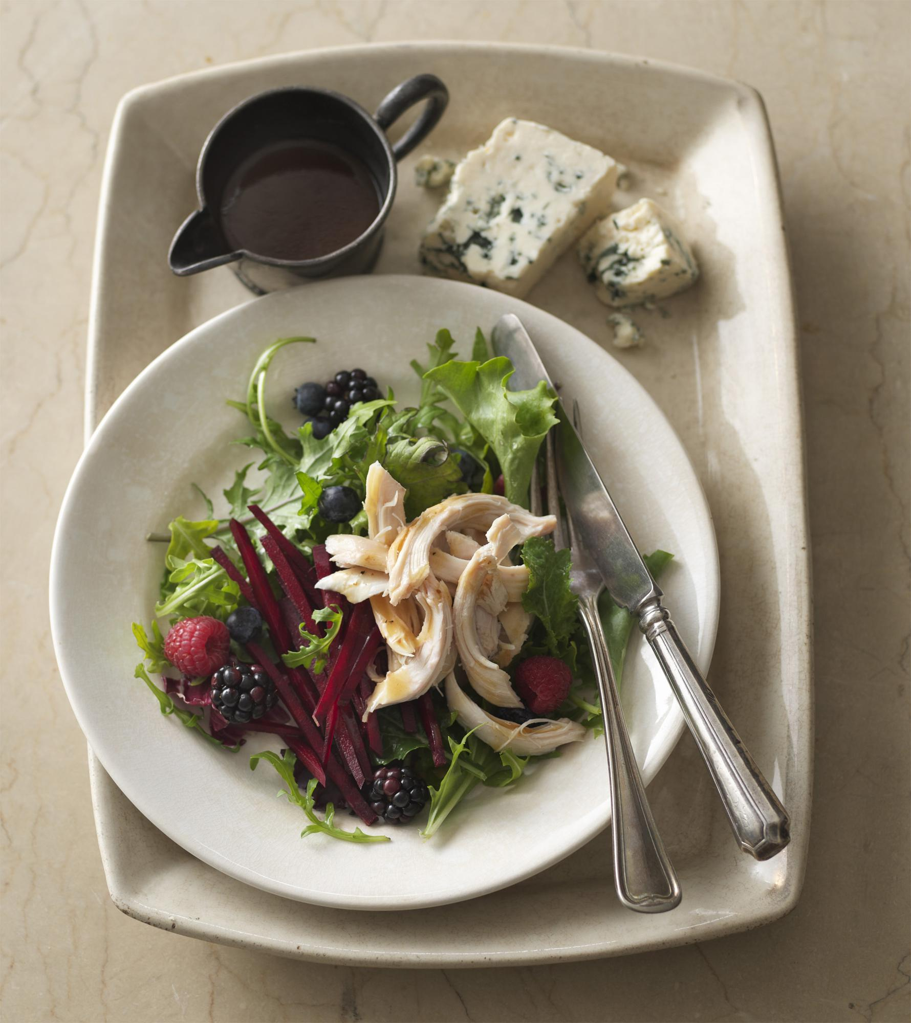 Leafy Chicken Salad with Berries & Beets