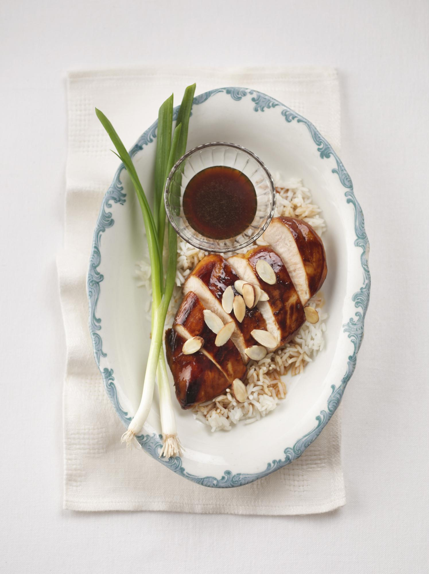 Almond Chicken with Sweet Honey-Soy Glaze