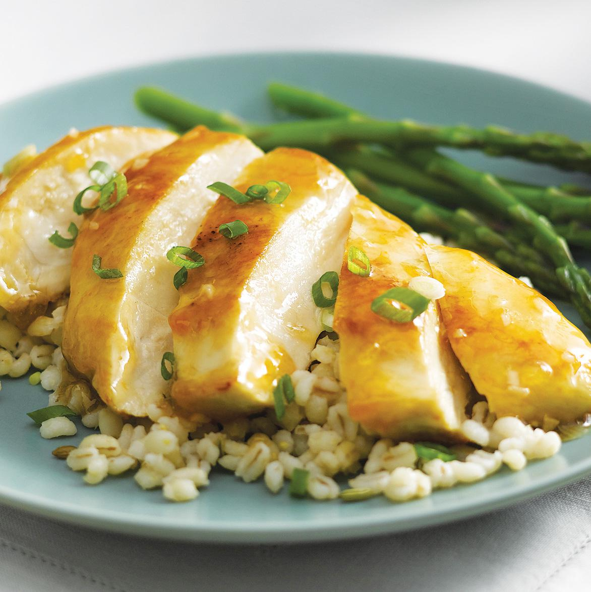 Apricot Ginger Chicken with Toasted Barley Pilaf