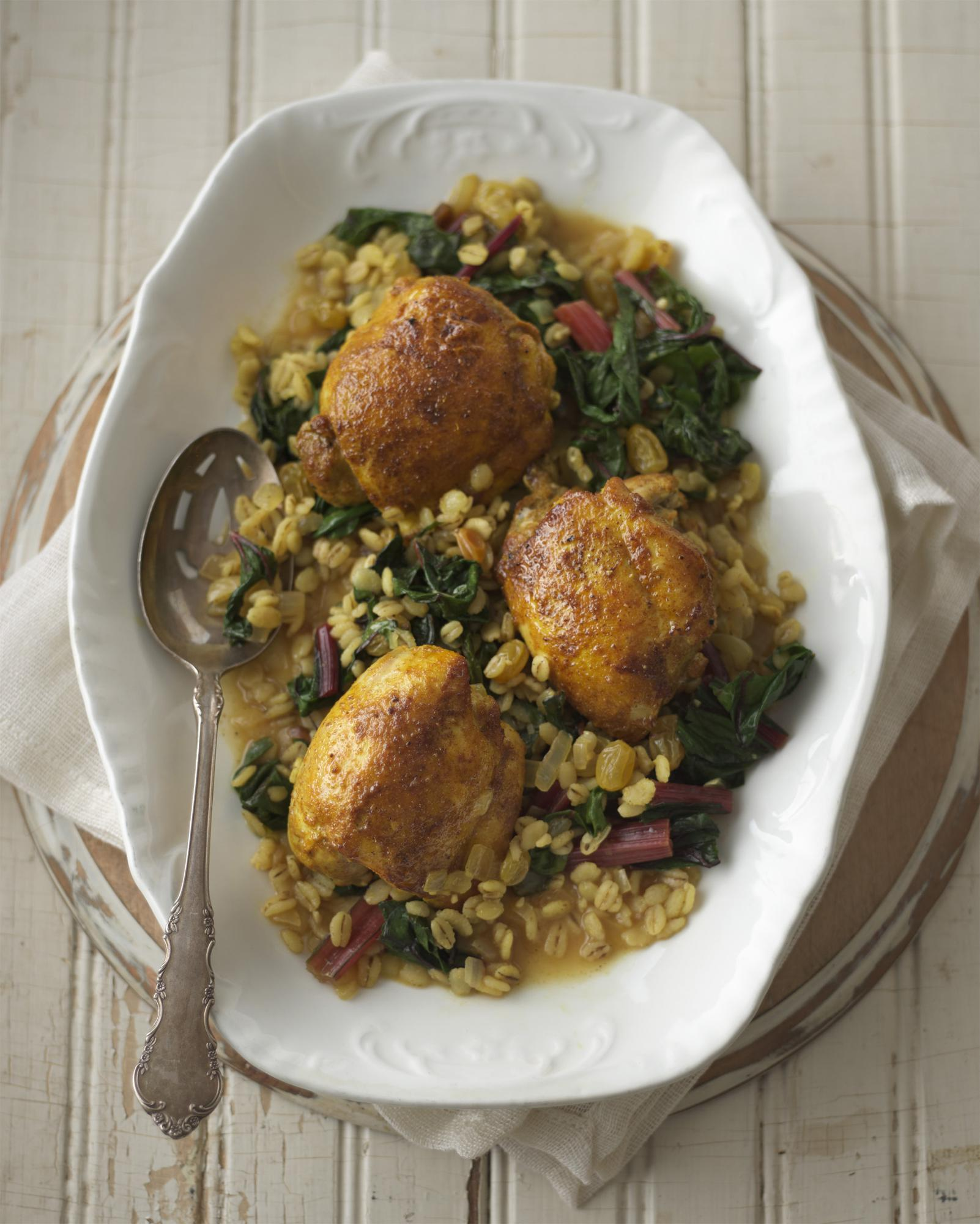 Barley & Greens with Boneless Skinless Chicken Thighs