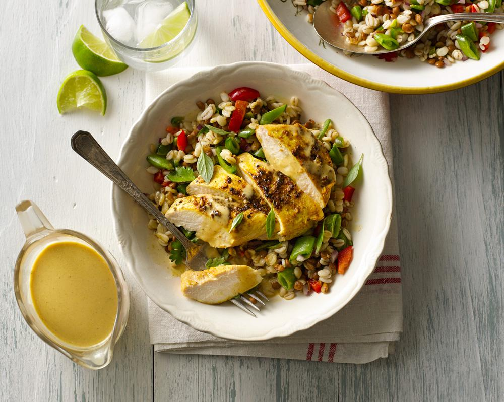 Barley & Lentil Power Salad with Ginger Curry Chicken