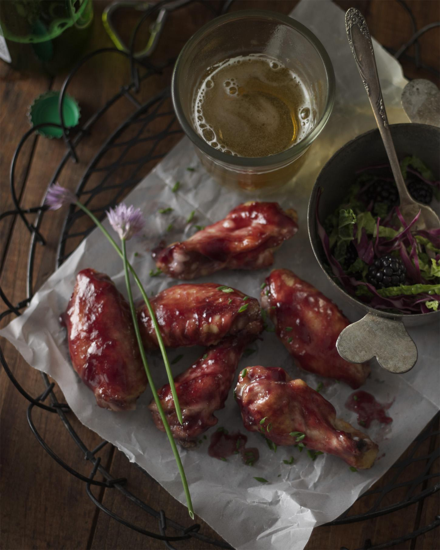 Blackberry-Chive Glazed Chicken Wings