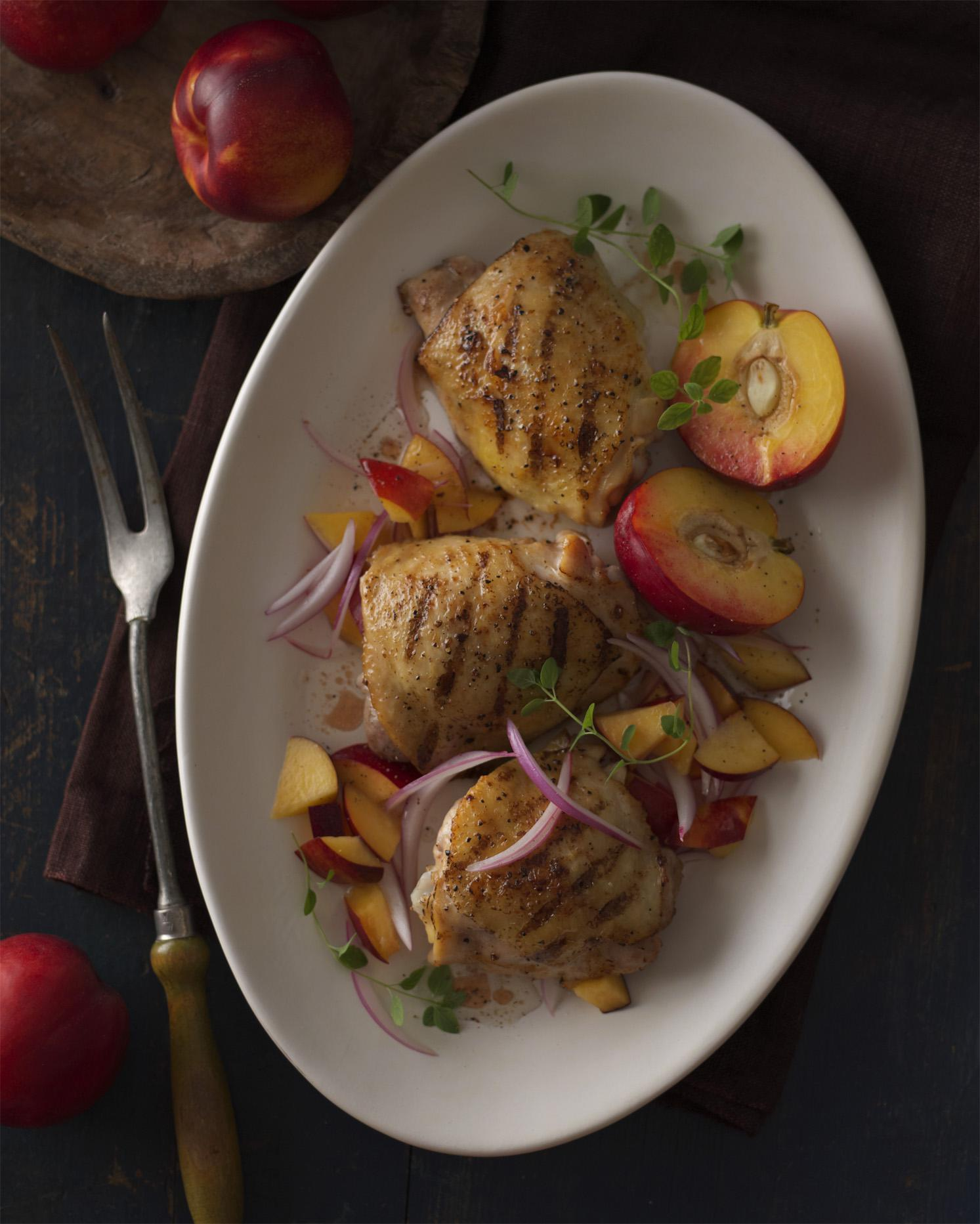 Grilled Chicken Thighs with Nectarine-Red Onion Relish
