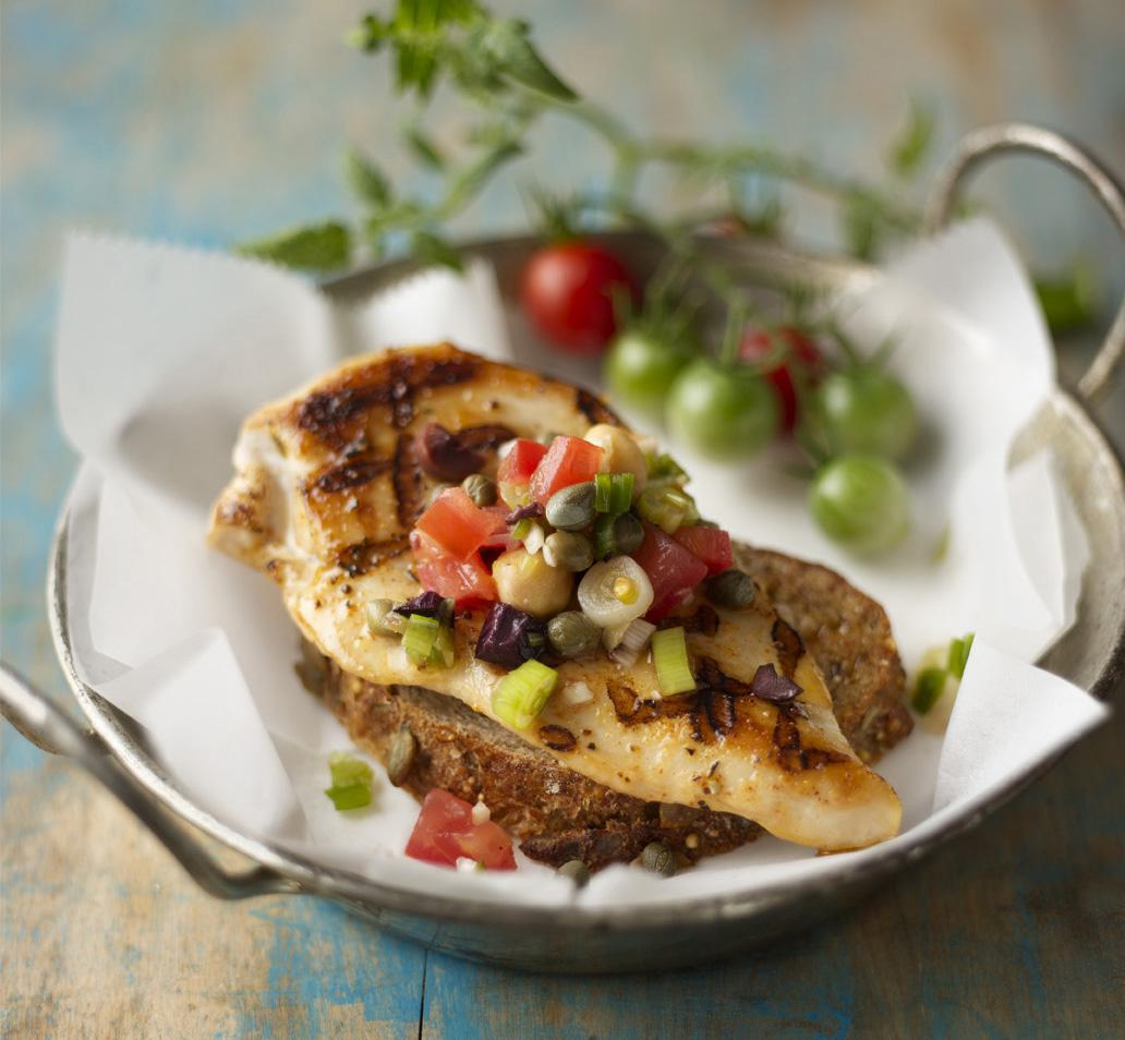 Grilled Chicken Bruschetta with Tomato Tapenade