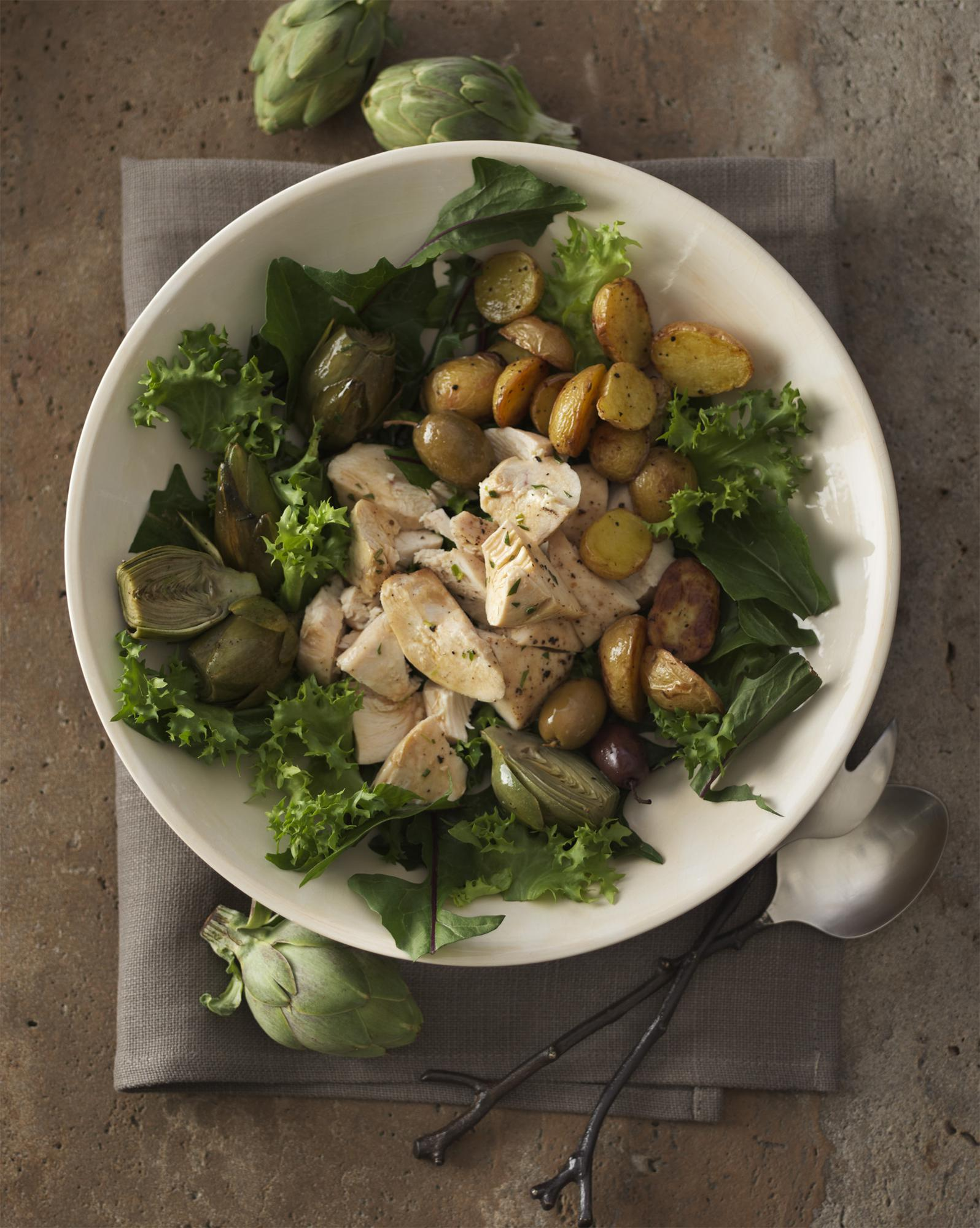 Chicken Artichoke Salad with Roasted Potatoes