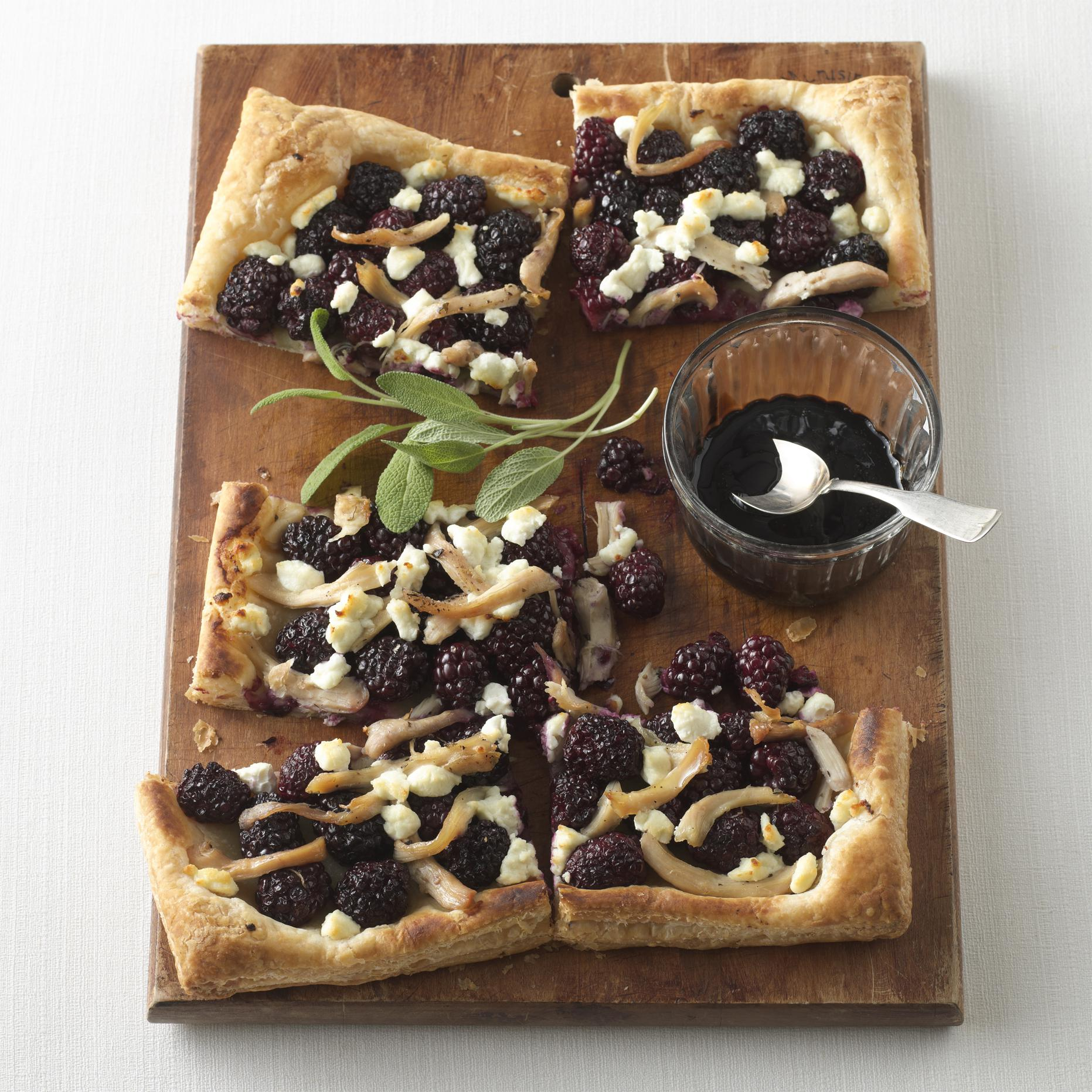 Chicken, Goat Cheese & Balsamic Blackberry Tart
