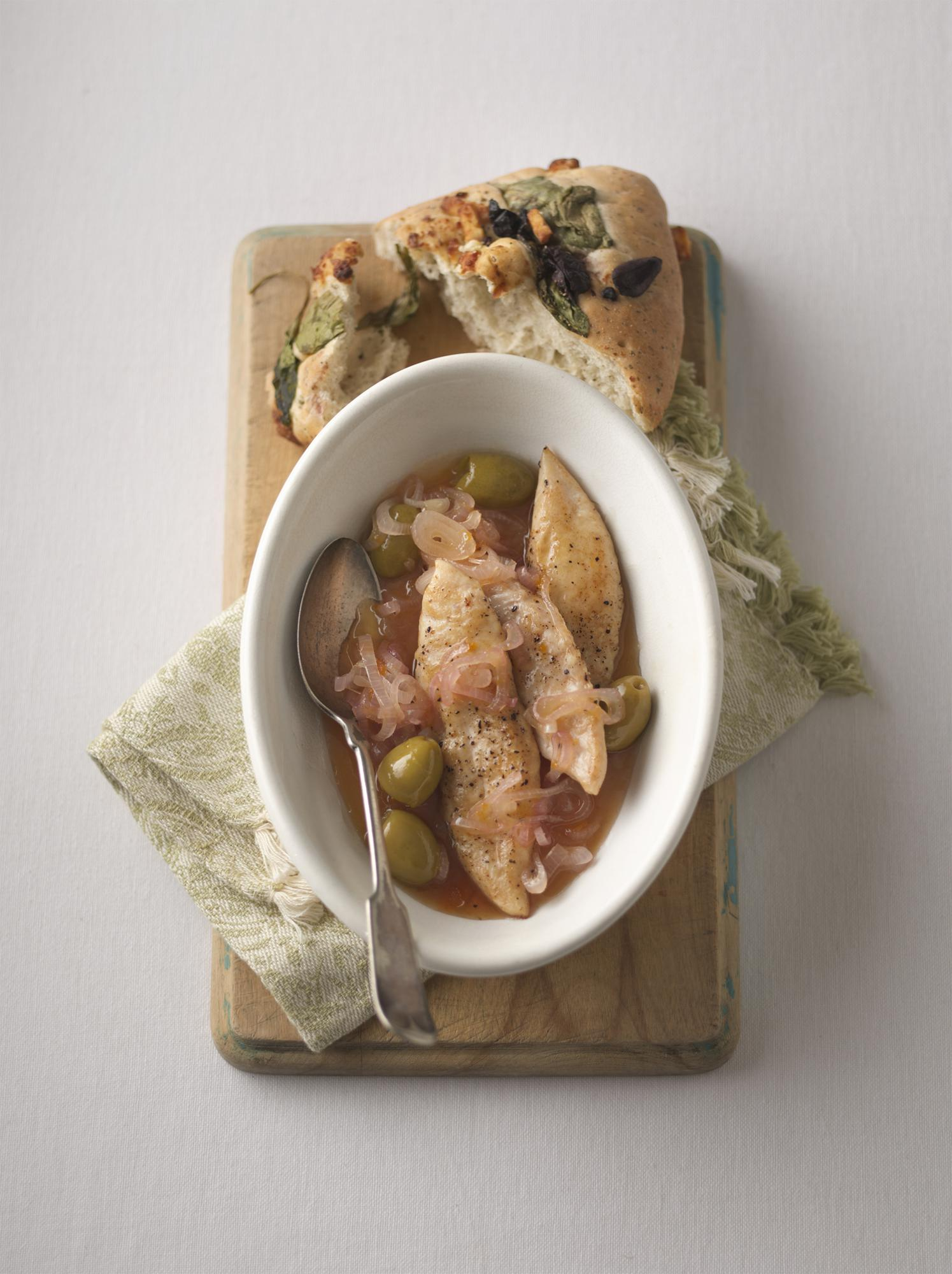 Chicken & Green Olives with Apricot Shallot Wine Sauce