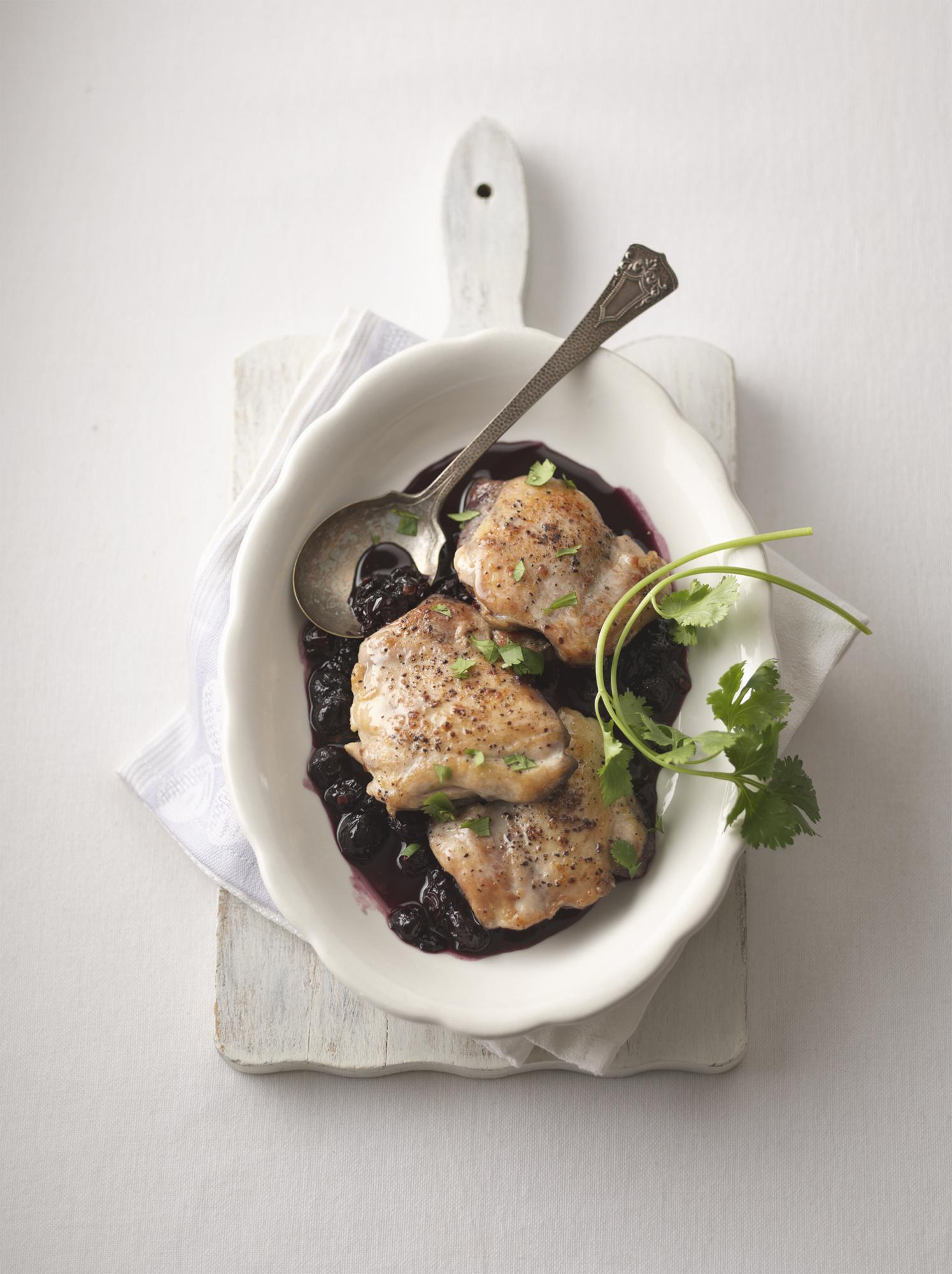 Chicken Thighs with Blueberry Chipotle Sauce
