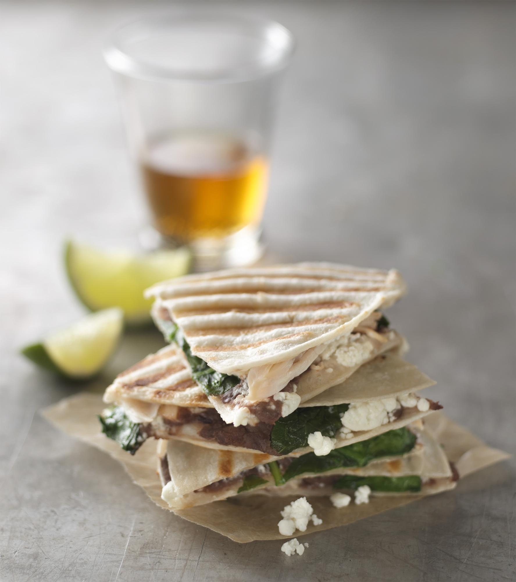 Chicken, Spinach & Black Bean Quesadillas