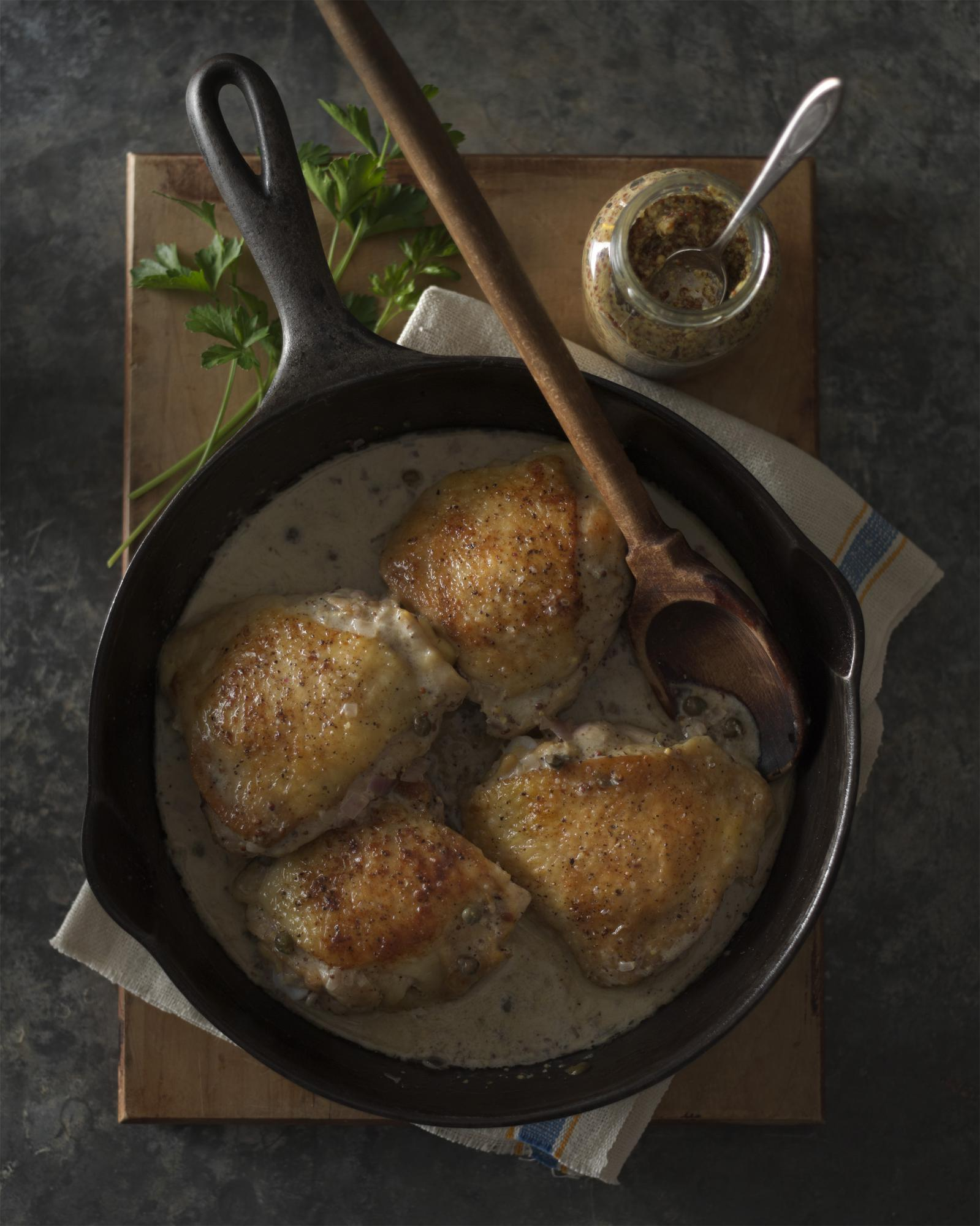 Sauteed Chicken Thighs in Mustard Caper Sauce