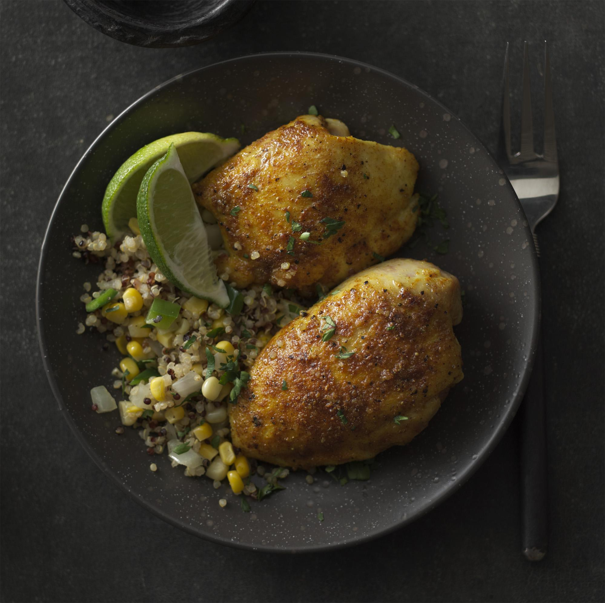 Coriander Chicken Thighs with Quinoa, Corn & Peppers