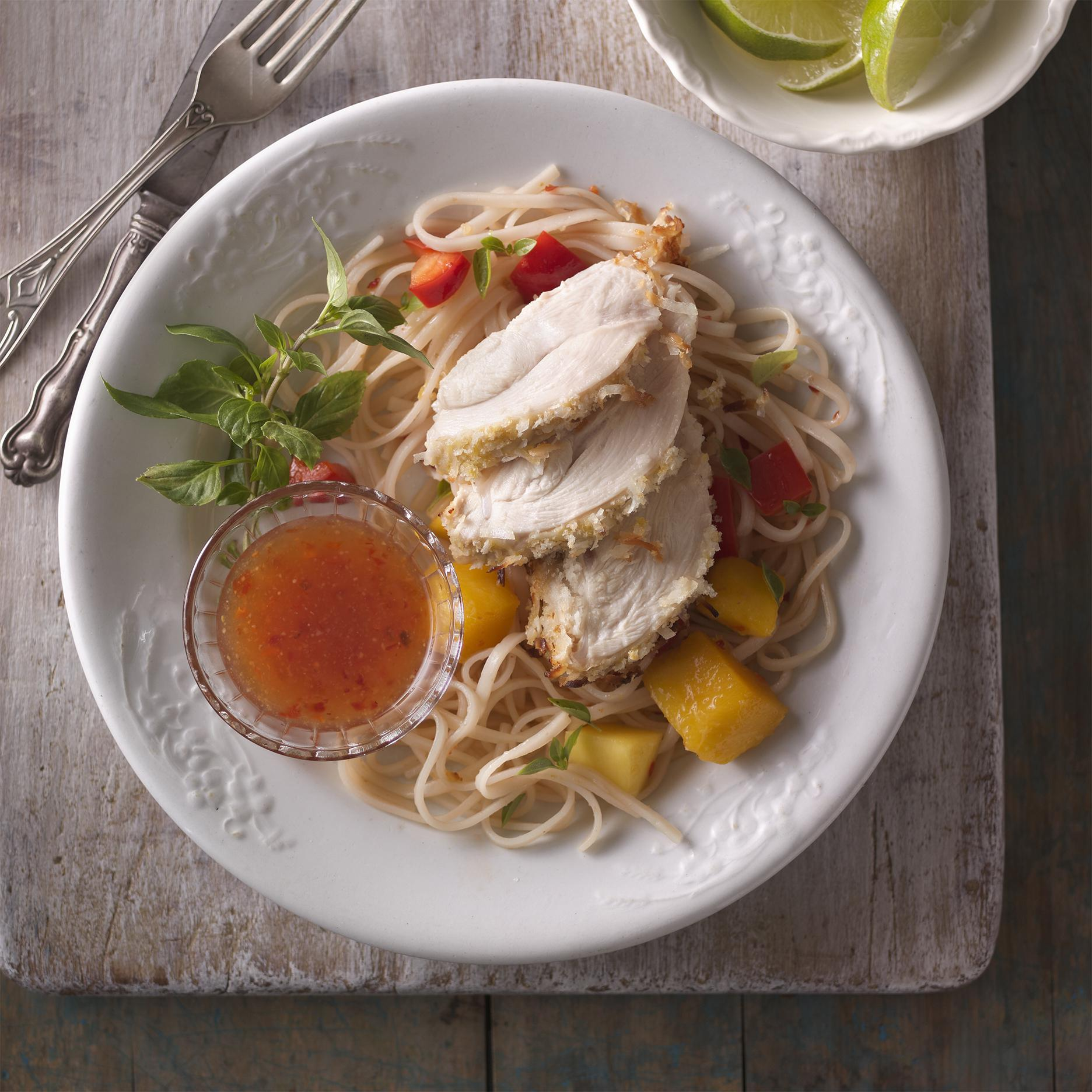Coconut Coated Chicken with Mango Basil Noodles