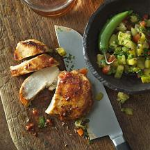 Garlic Chili Chicken with Grilled Pineapple Salsa