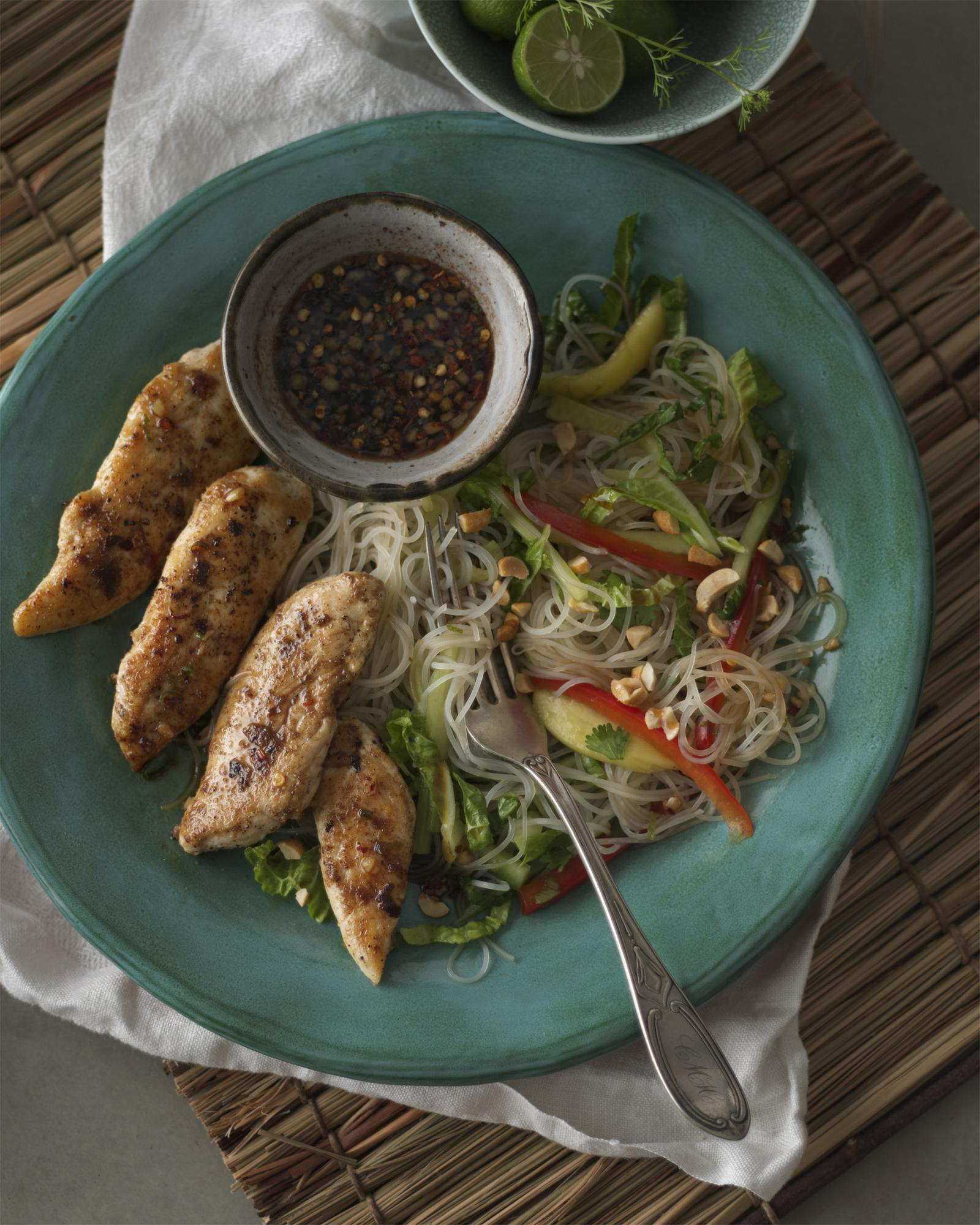Ginger Chicken Tenders with Vermicelli Noodles & Mango Cucumber Salad