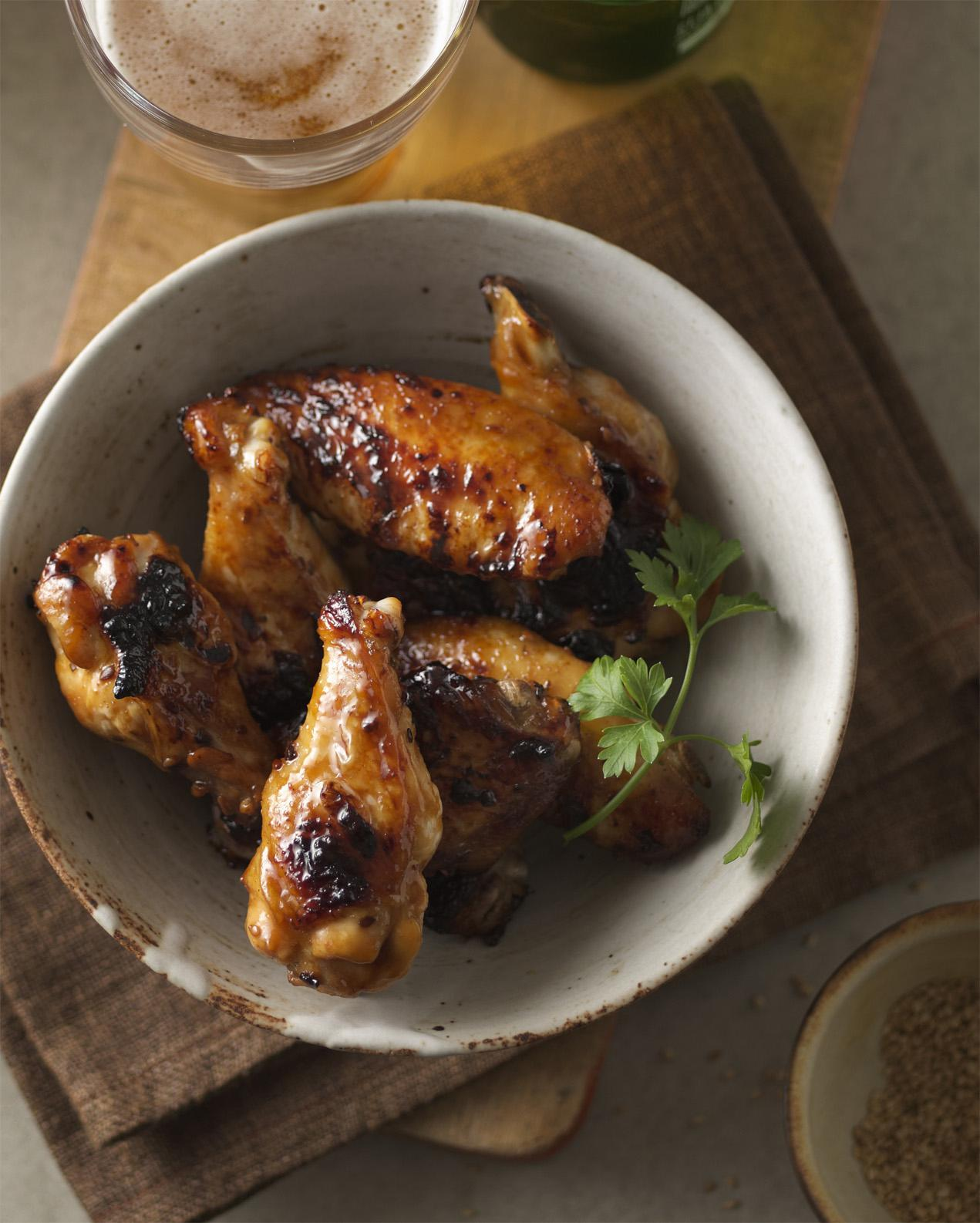 Grilled Chicken Wings with Apple Bourbon Mop Sauce