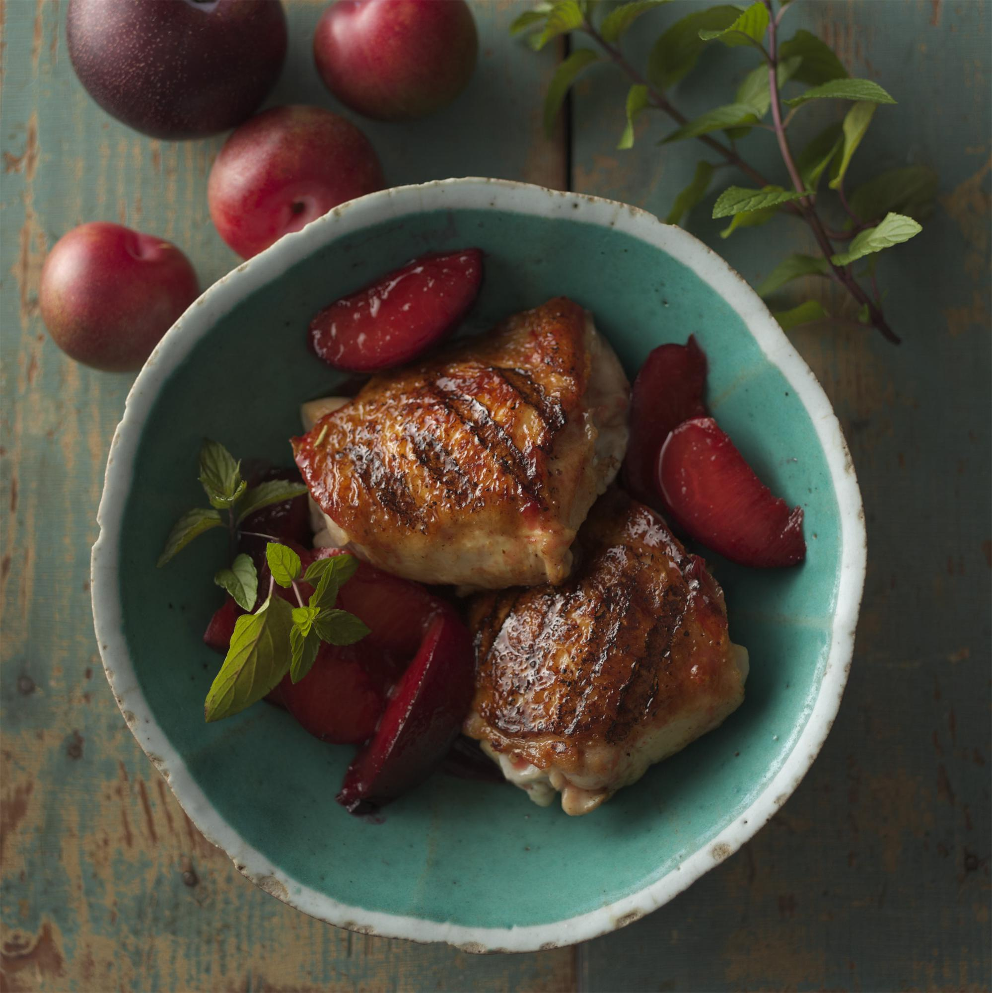 Grilled Chicken Thighs with Spiced Plum Compote