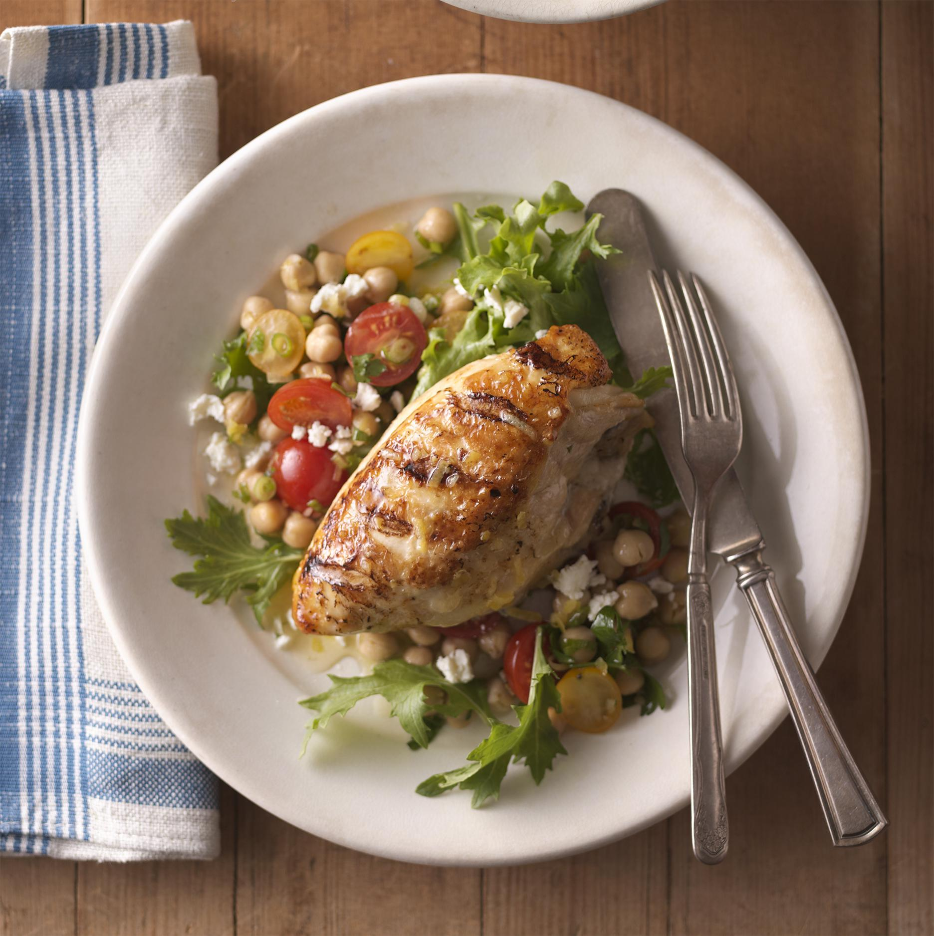 Grilled Lemon Chicken with Tomato Chickpea Salad