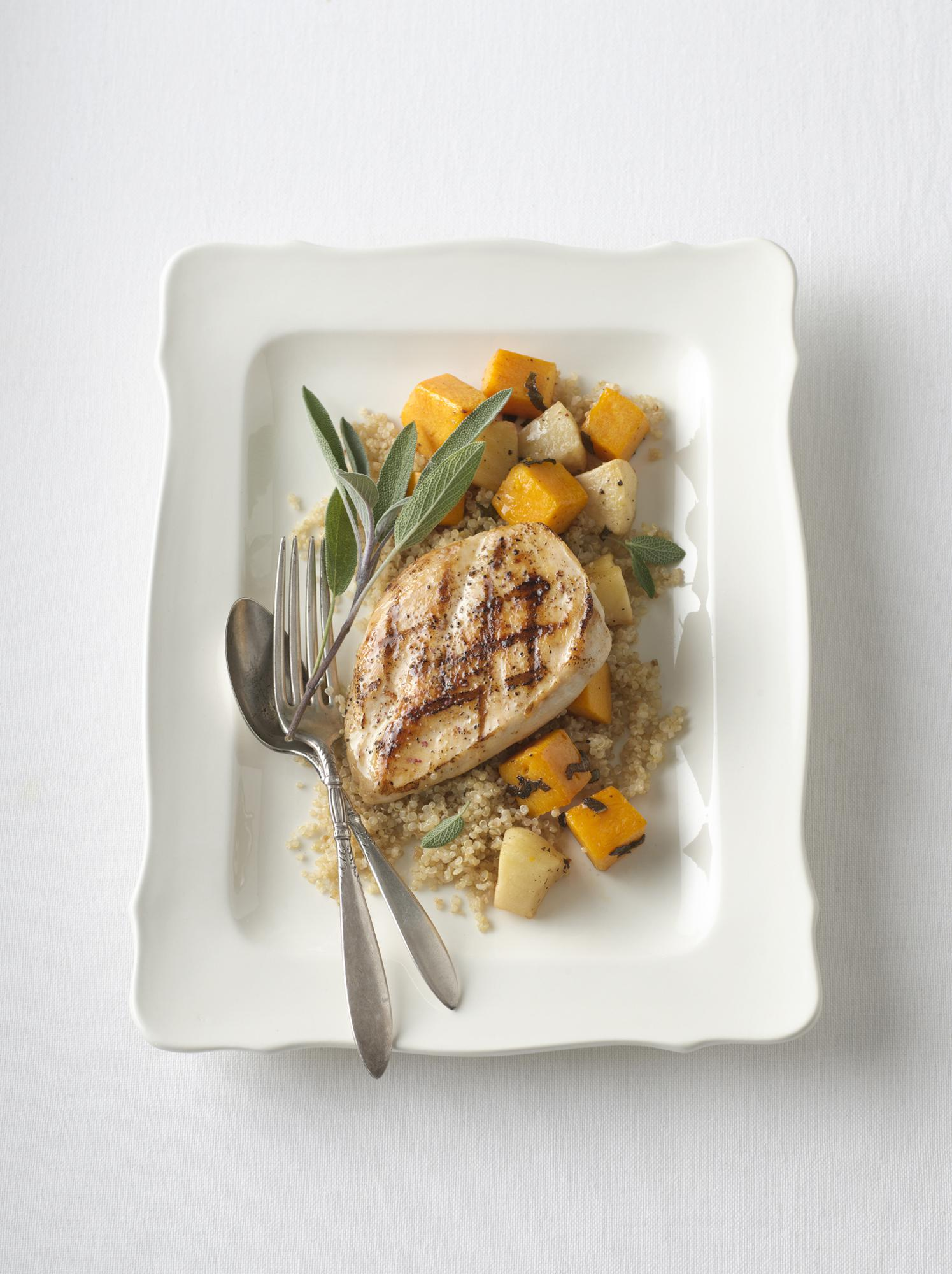 Grilled Chicken with Sage-Infused Quinoa & Harvest Vegetable Bake