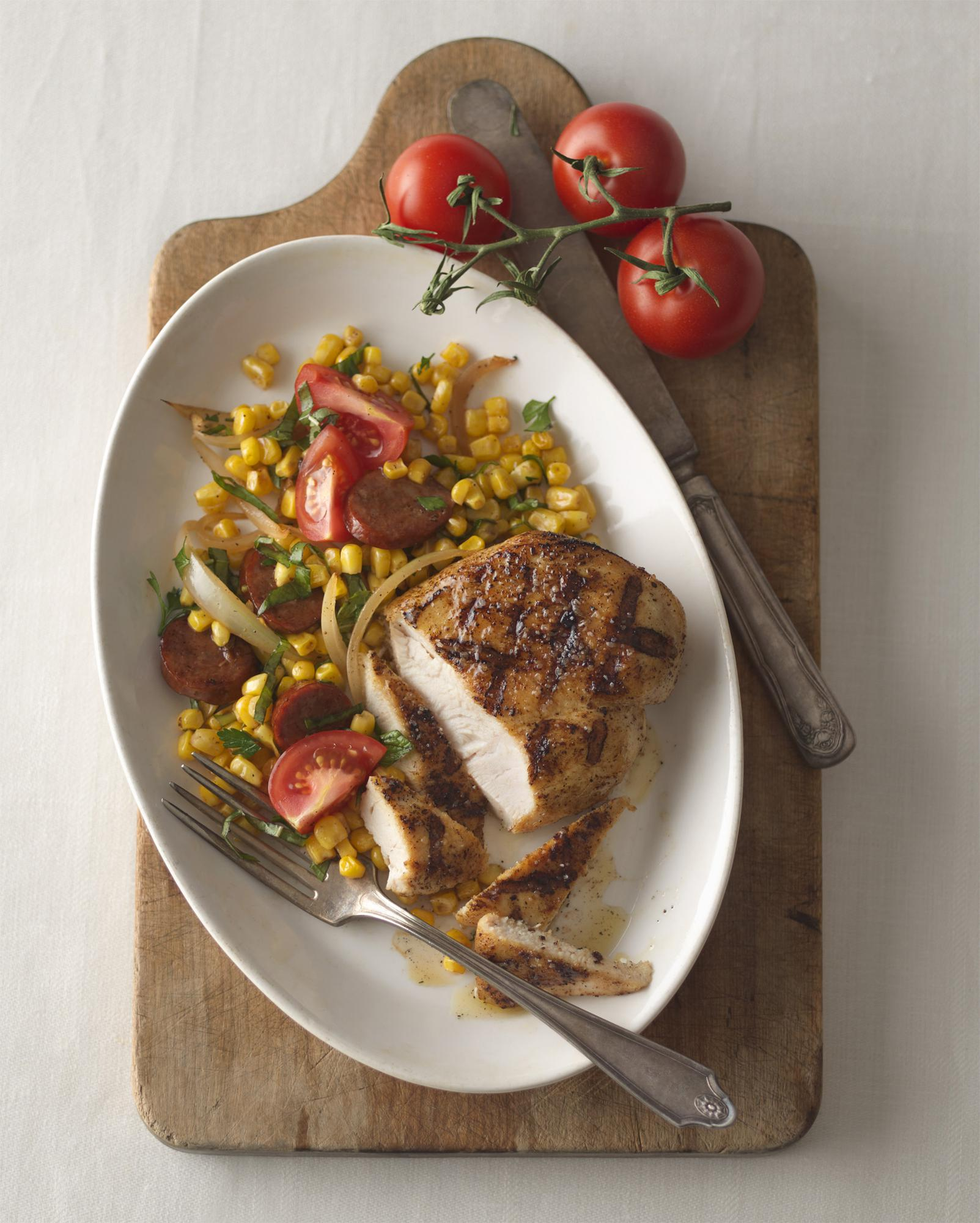 Grilled Chorizo Chicken Breast Fillets with Corn & Tomato Salad