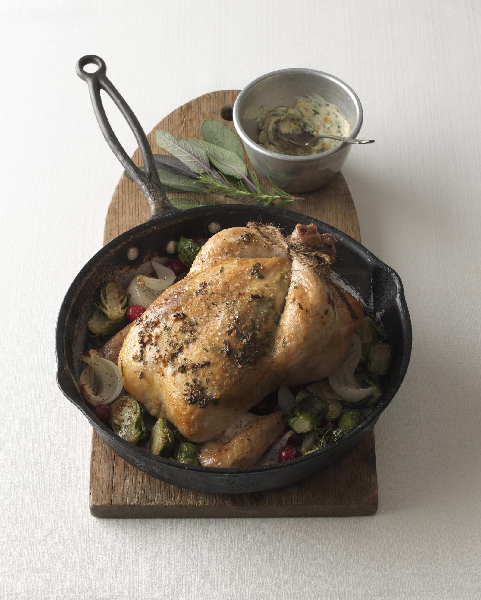 Roasted Chicken with Herbed Orange Butter