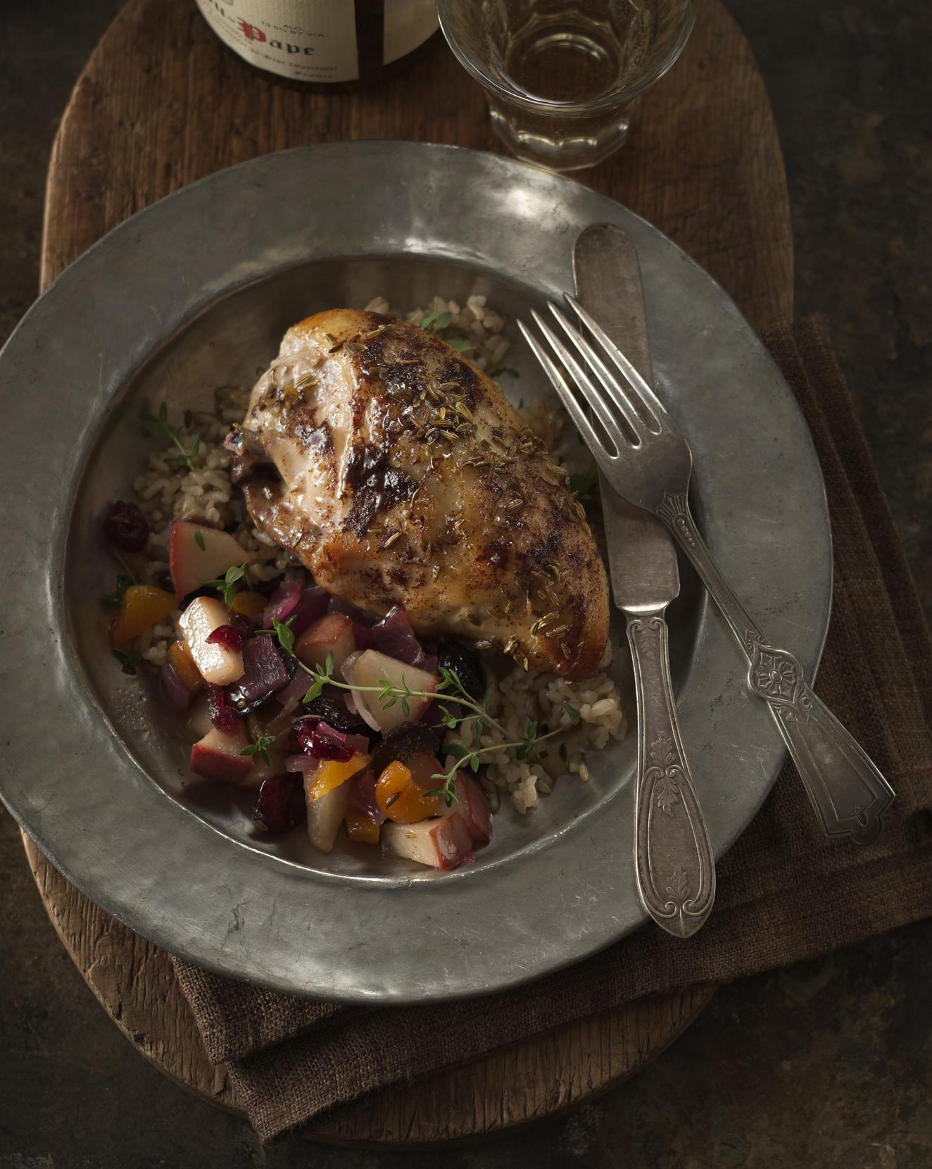 Coq Au Riesling with Autumn Fruits