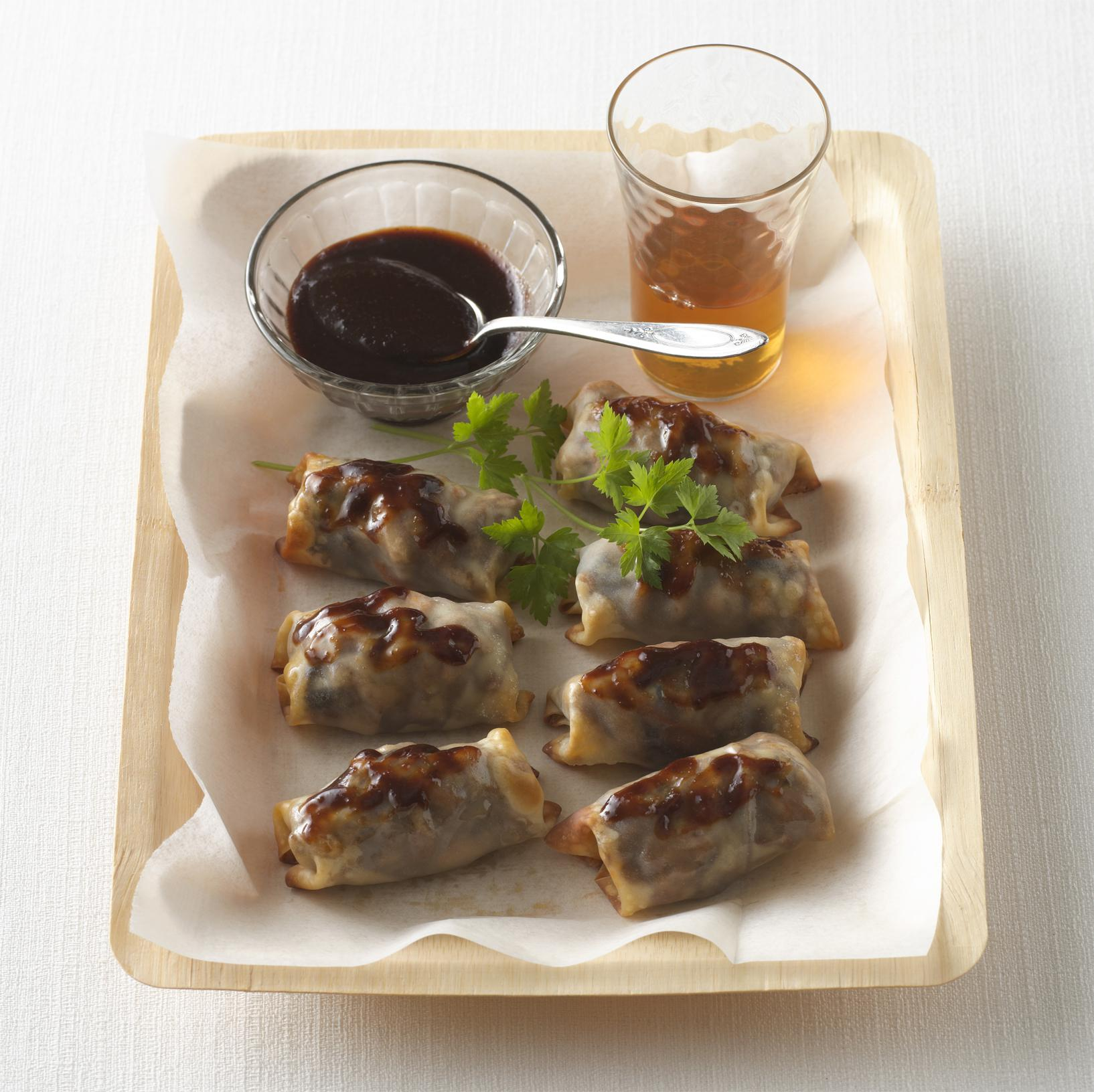 Mini Baked Crunchy Chicken Potstickers with Hoisin Dipping Sauce
