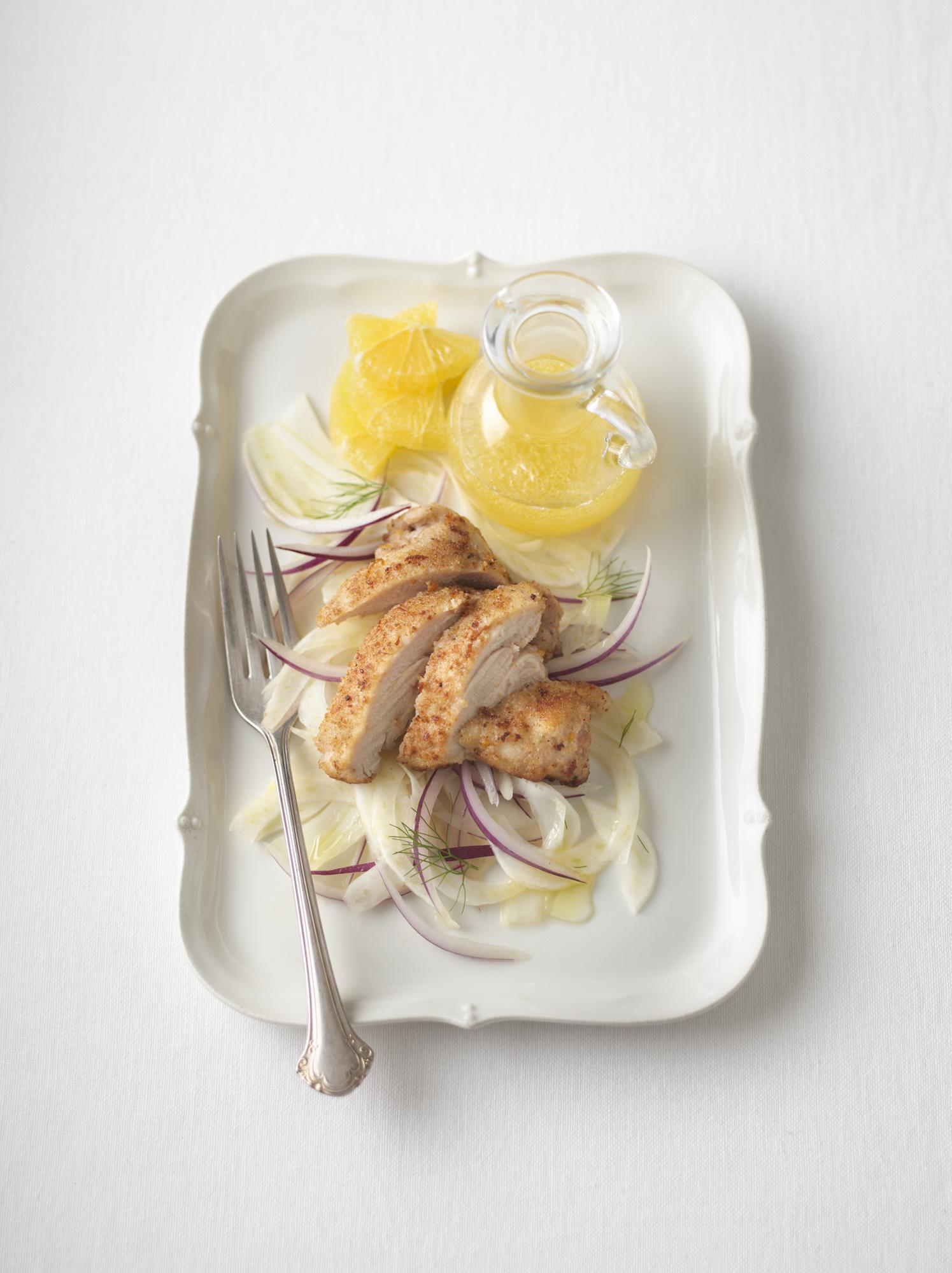 Pan-Fried Orange Chicken with Fennel & Onion Salad