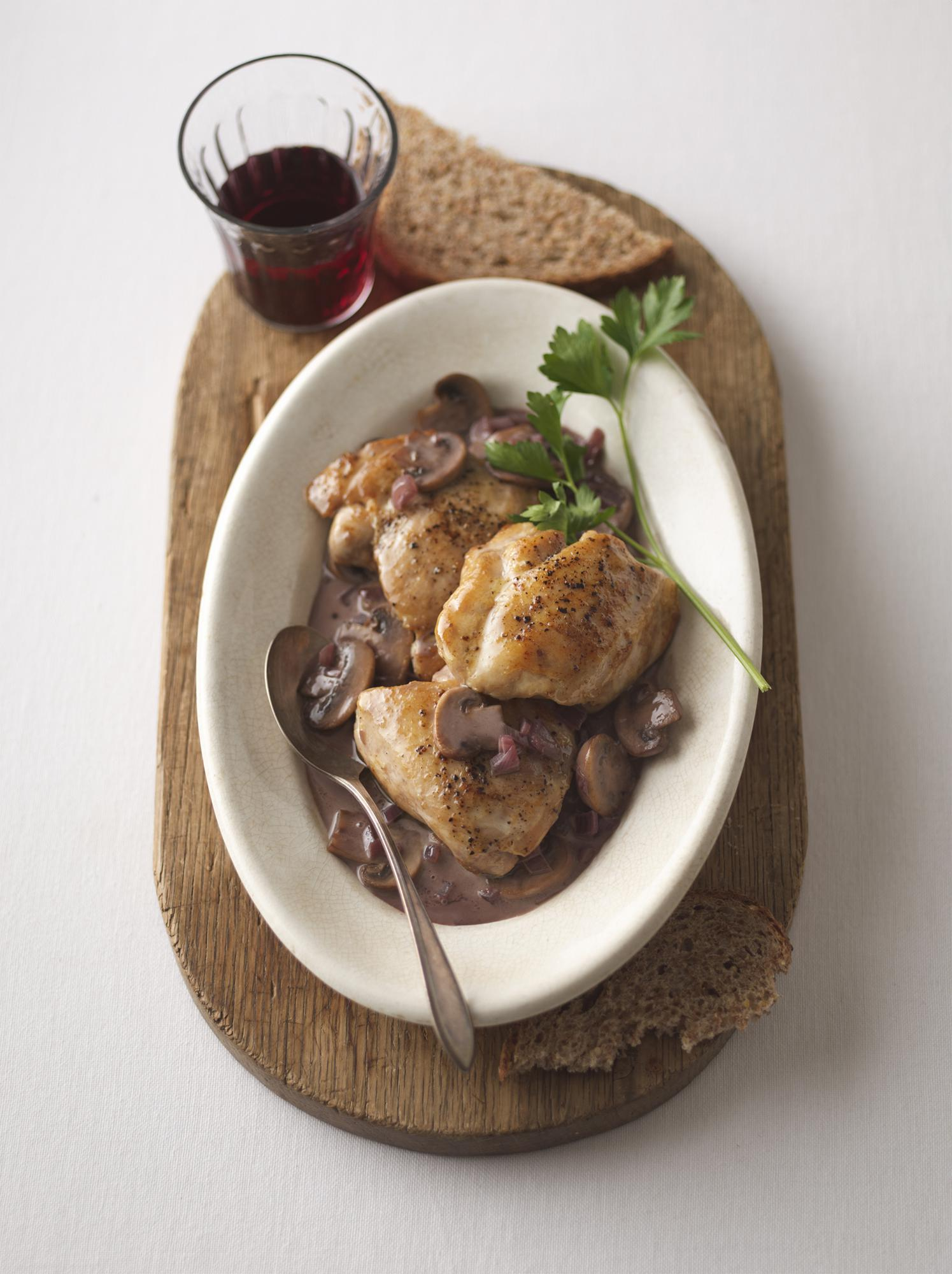 Pan-Seared Chicken with Mushrooms in Creamy Port Sauce