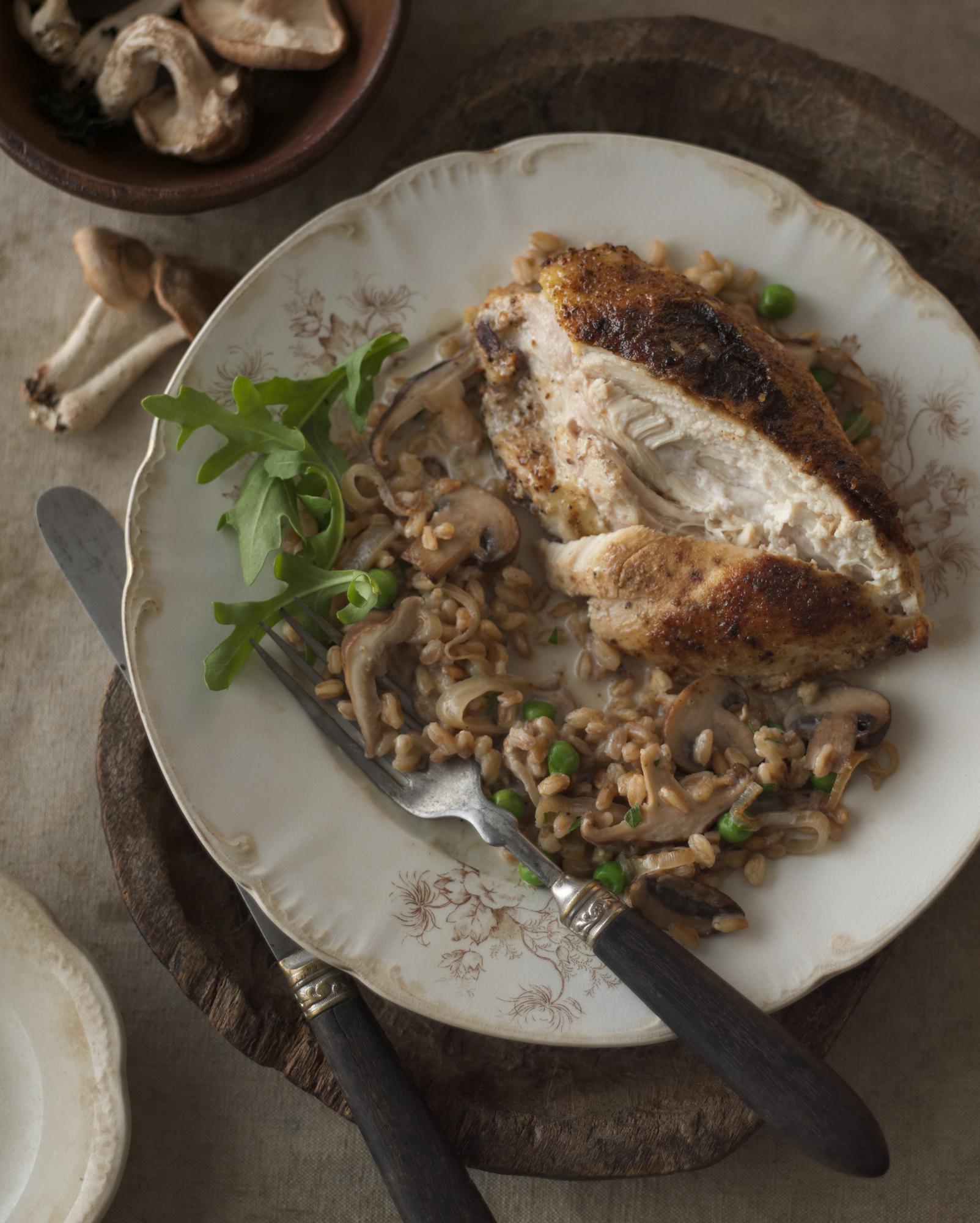 Porcini-Dusted Chicken with Wild Mushroom & Pea Risotto