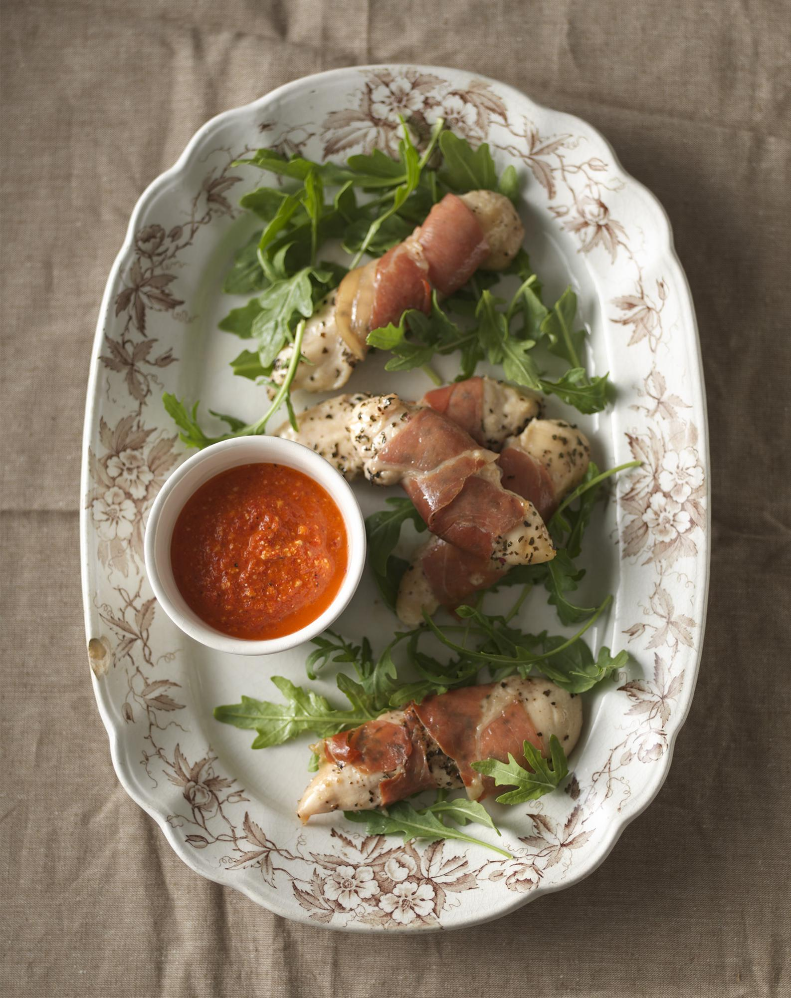 Proscuitto-Wrapped Chicken Tenders with Romesco Sauce
