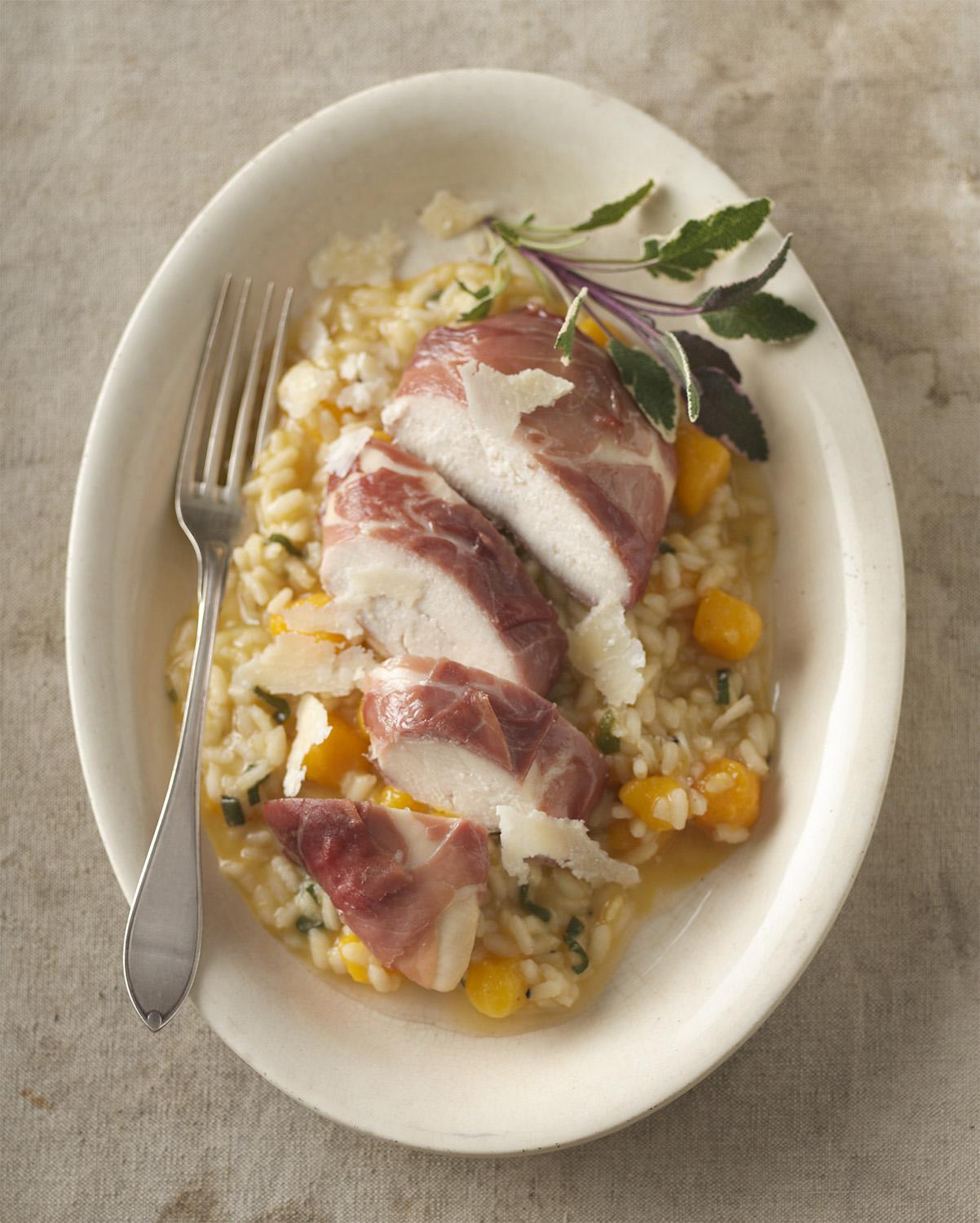 Prosciutto-Wrapped Chicken with Butternut Risotto