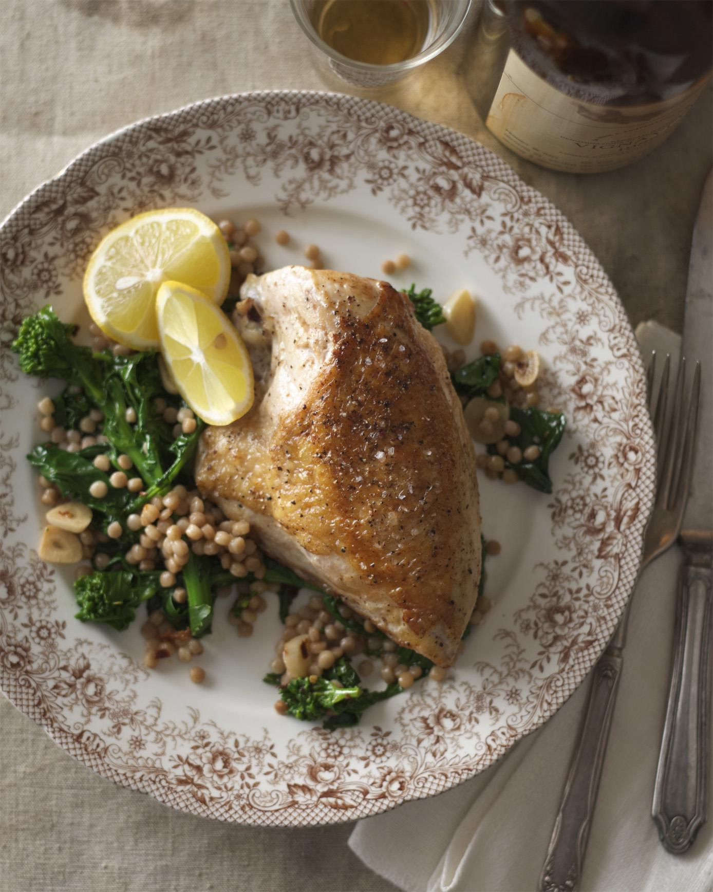 Pan-Roasted Chicken Breasts with Couscous, Broccoli Rabe, & Spicy Olive Oil