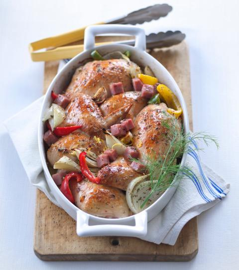 Roast Chicken with Sweet Peppers & Fennel