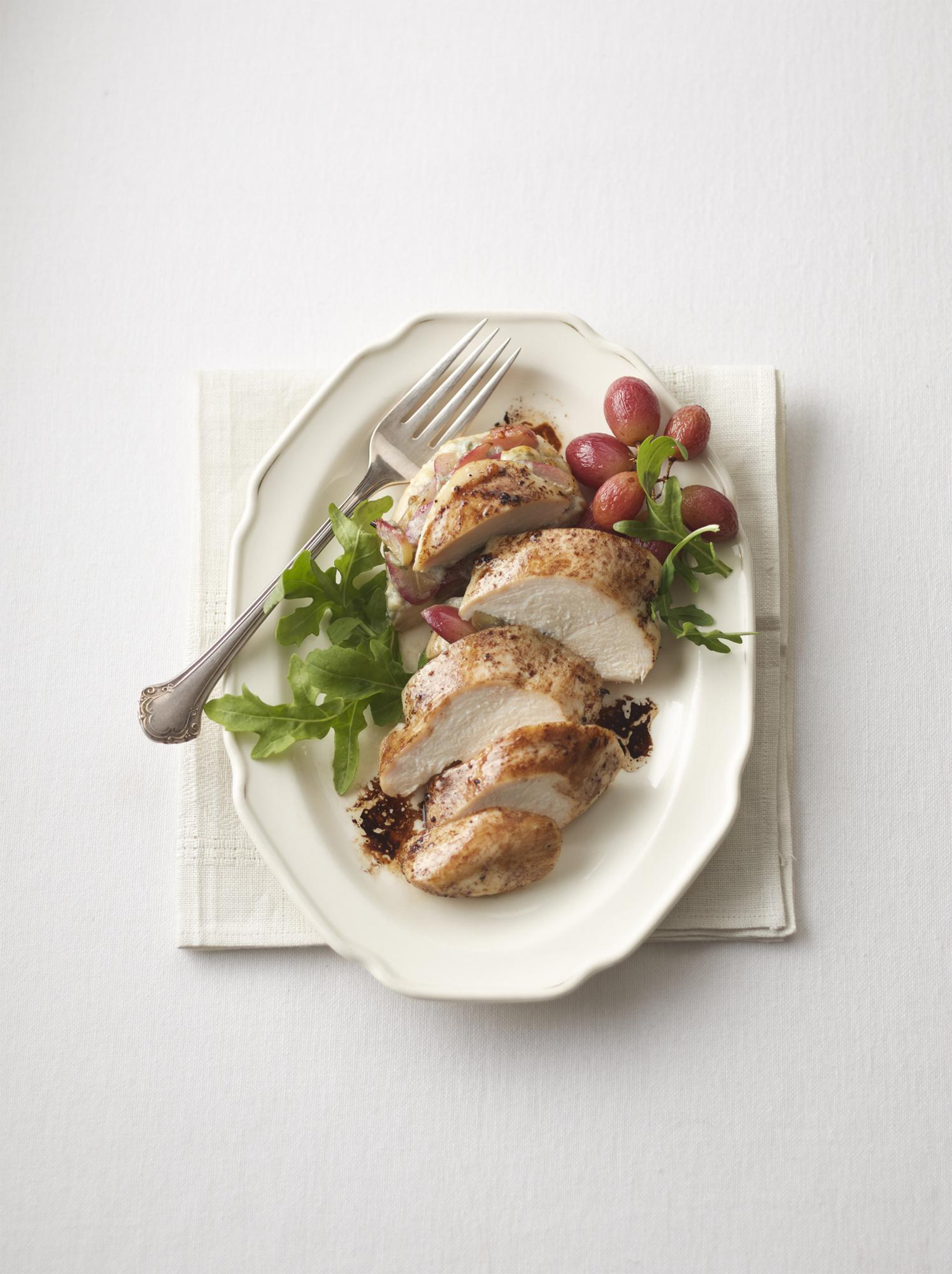 Roasted Grape & Gorgonzola Stuffed Chicken with Balsamic Reduction